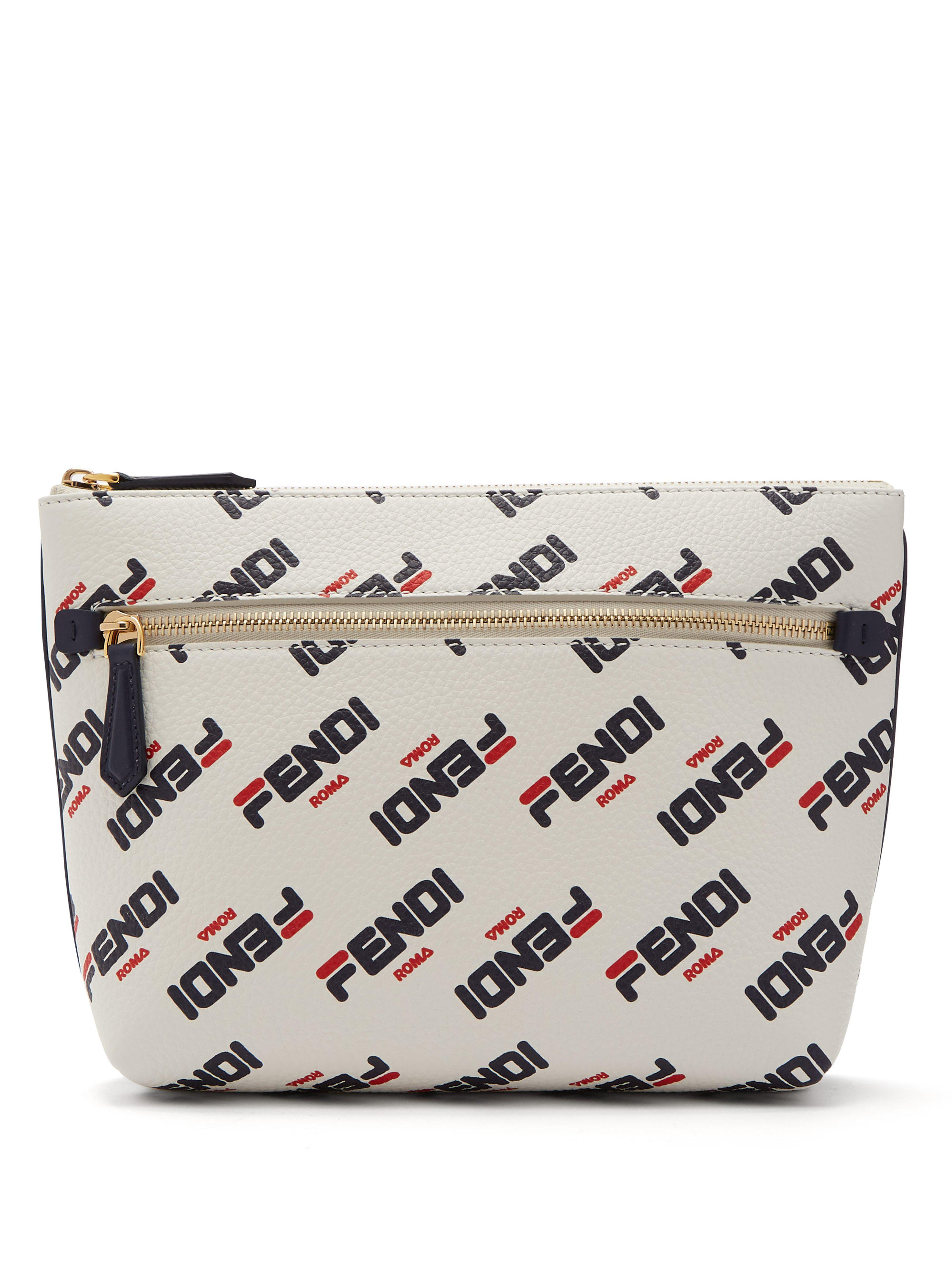 9ff51136dc Fendi. Women s Mania Logo Print Leather Pouch