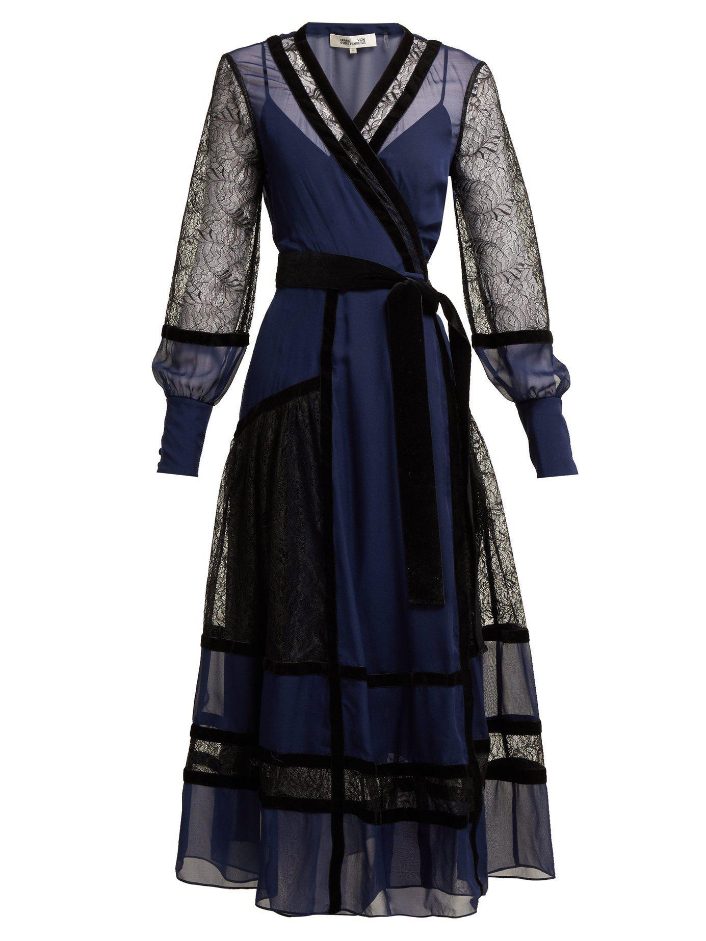 b582b7f88c437 Lyst - Diane von Furstenberg Forrest Lace Panel Wrap Dress in Blue ...
