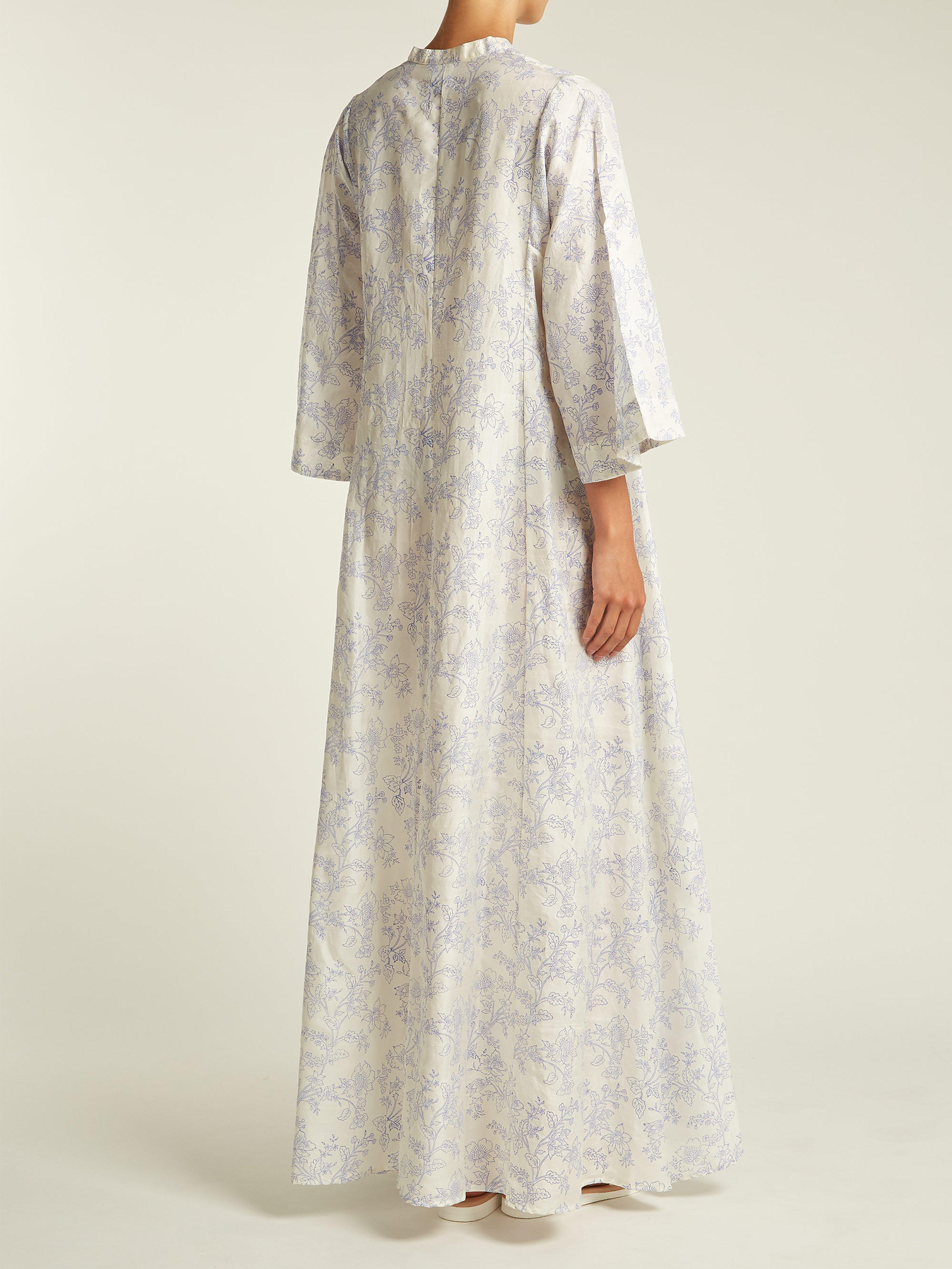 7352910244 Thierry Colson - White Rachel Floral Print Silk Kaftan - Lyst. View  fullscreen