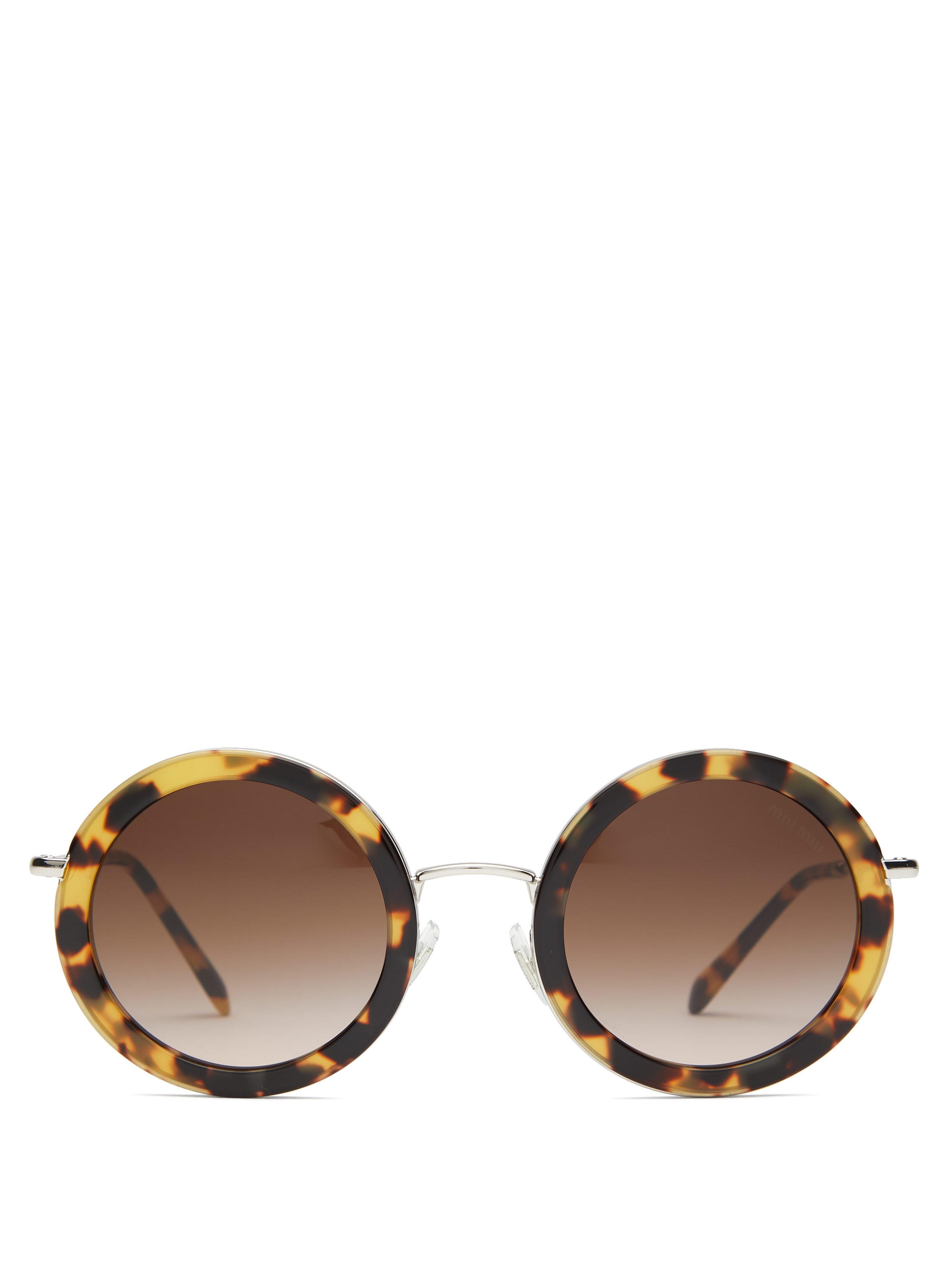 2b28194dd14 Miu Miu Oversized Round Frame Acetate Sunglasses in Brown - Lyst