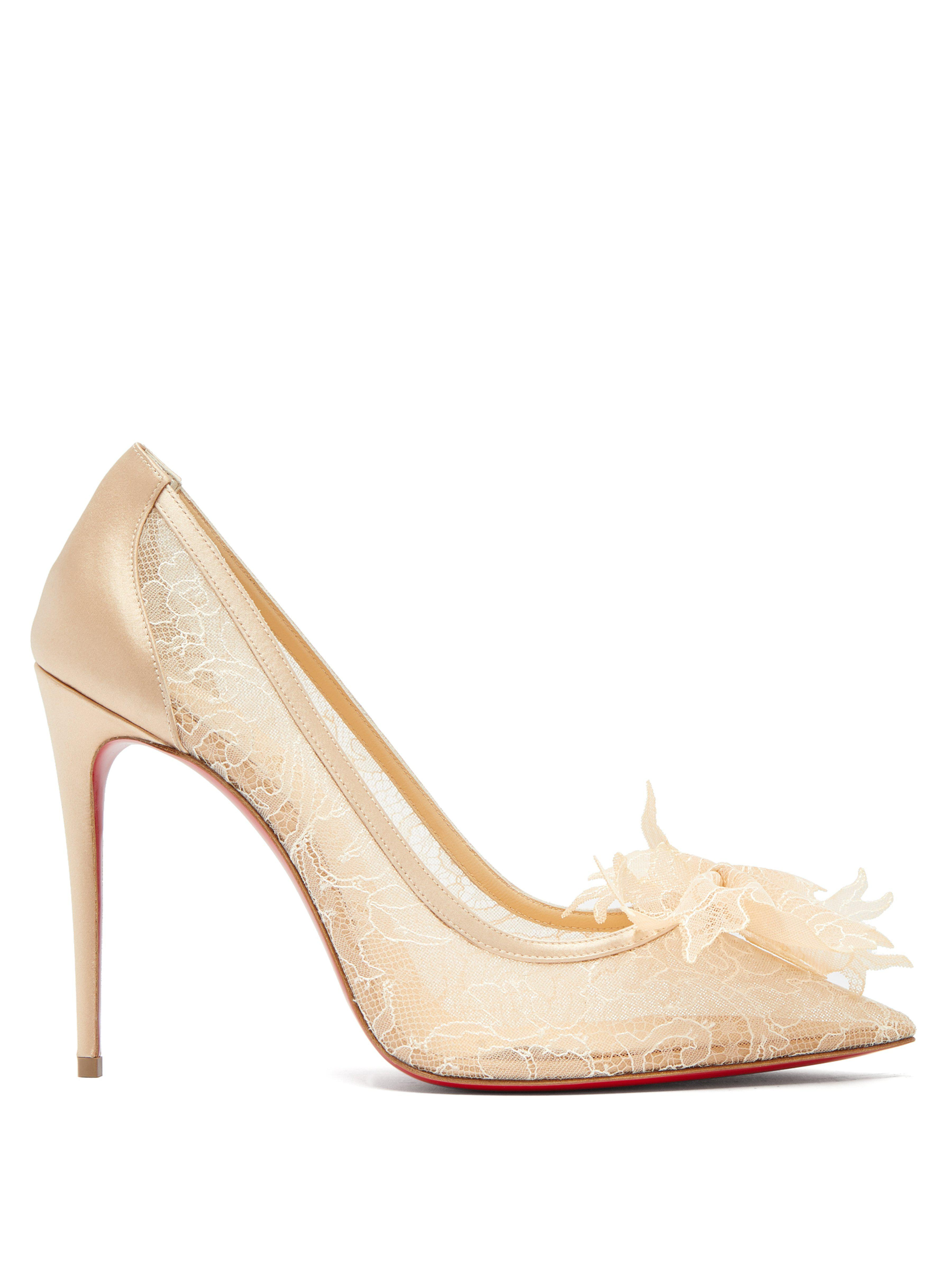 9d96016d505c Christian Louboutin Delicatissima 100 Lace Pumps in Natural - Save ...
