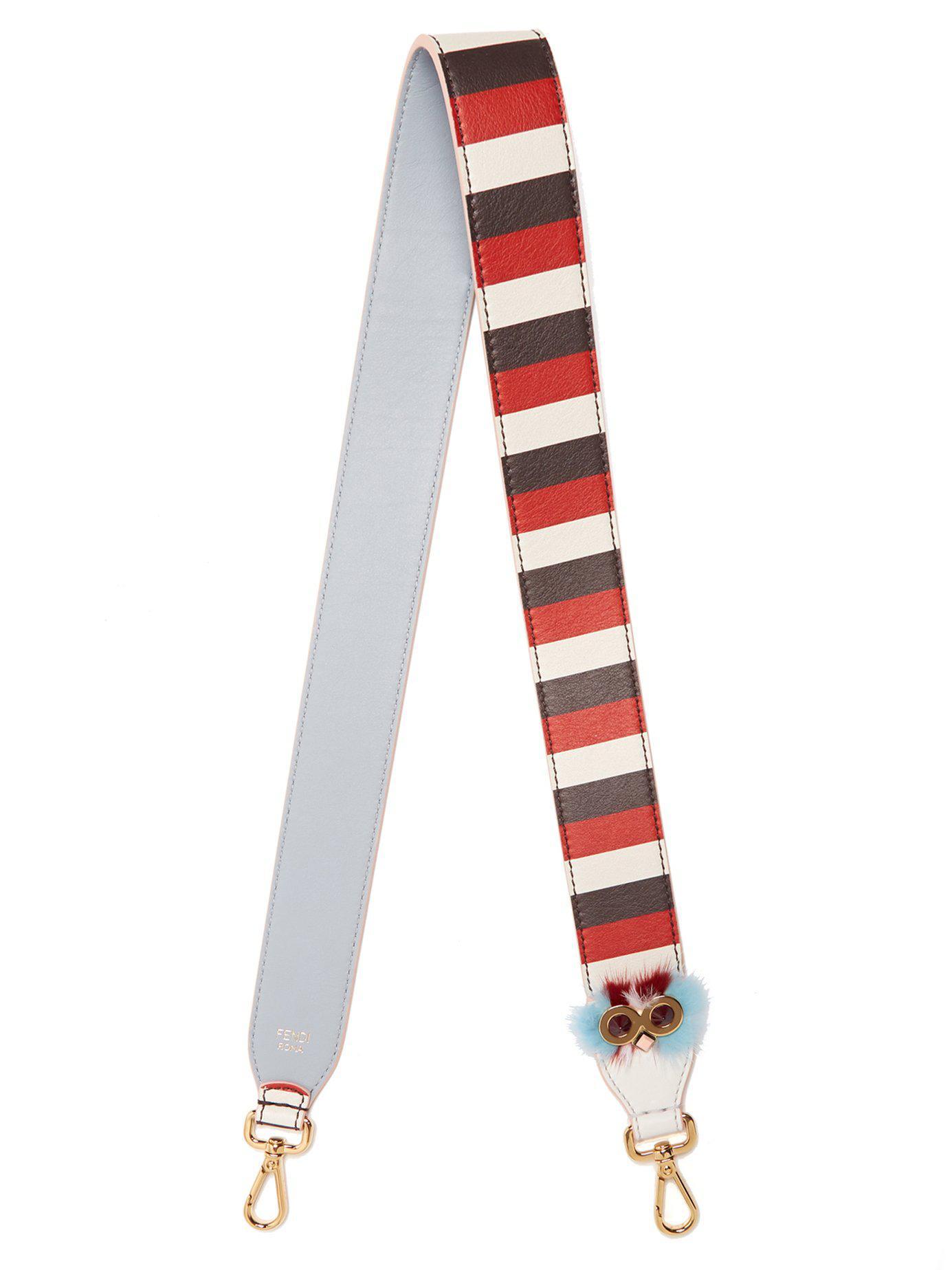 Lyst - Bandoulière en cuir rayée Strap You Fendi en coloris Rouge 734e2a5c093