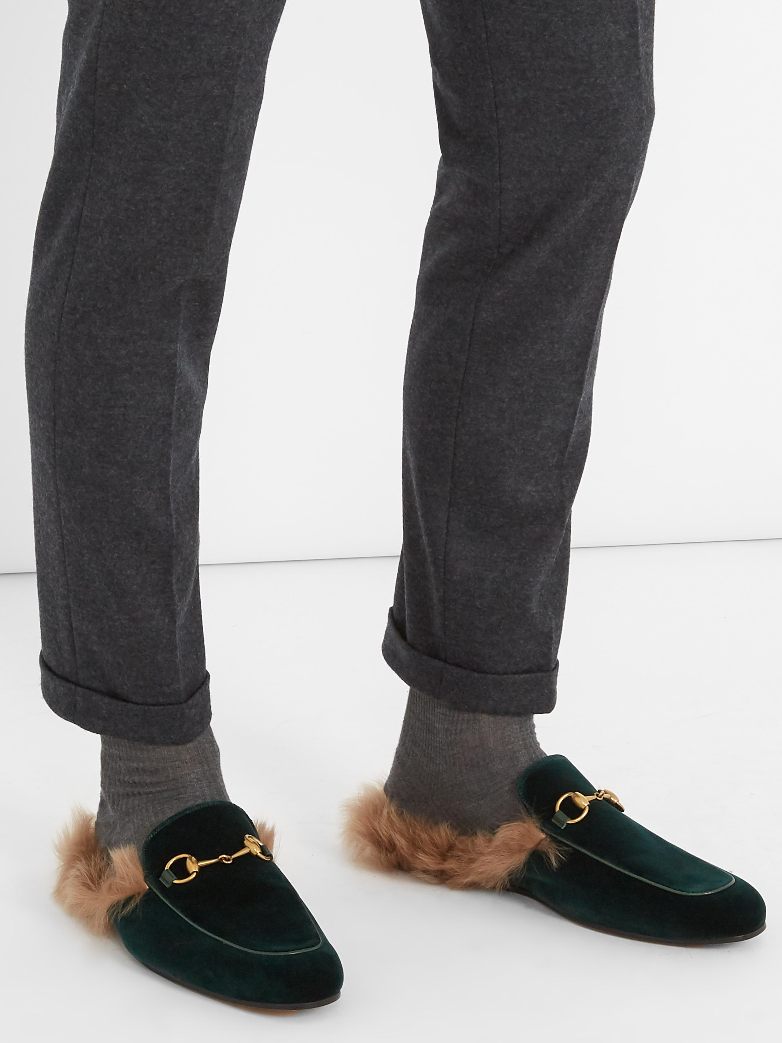 ca41500f2b0 Lyst - Gucci Princetown Fur-lined Velvet Loafers for Men
