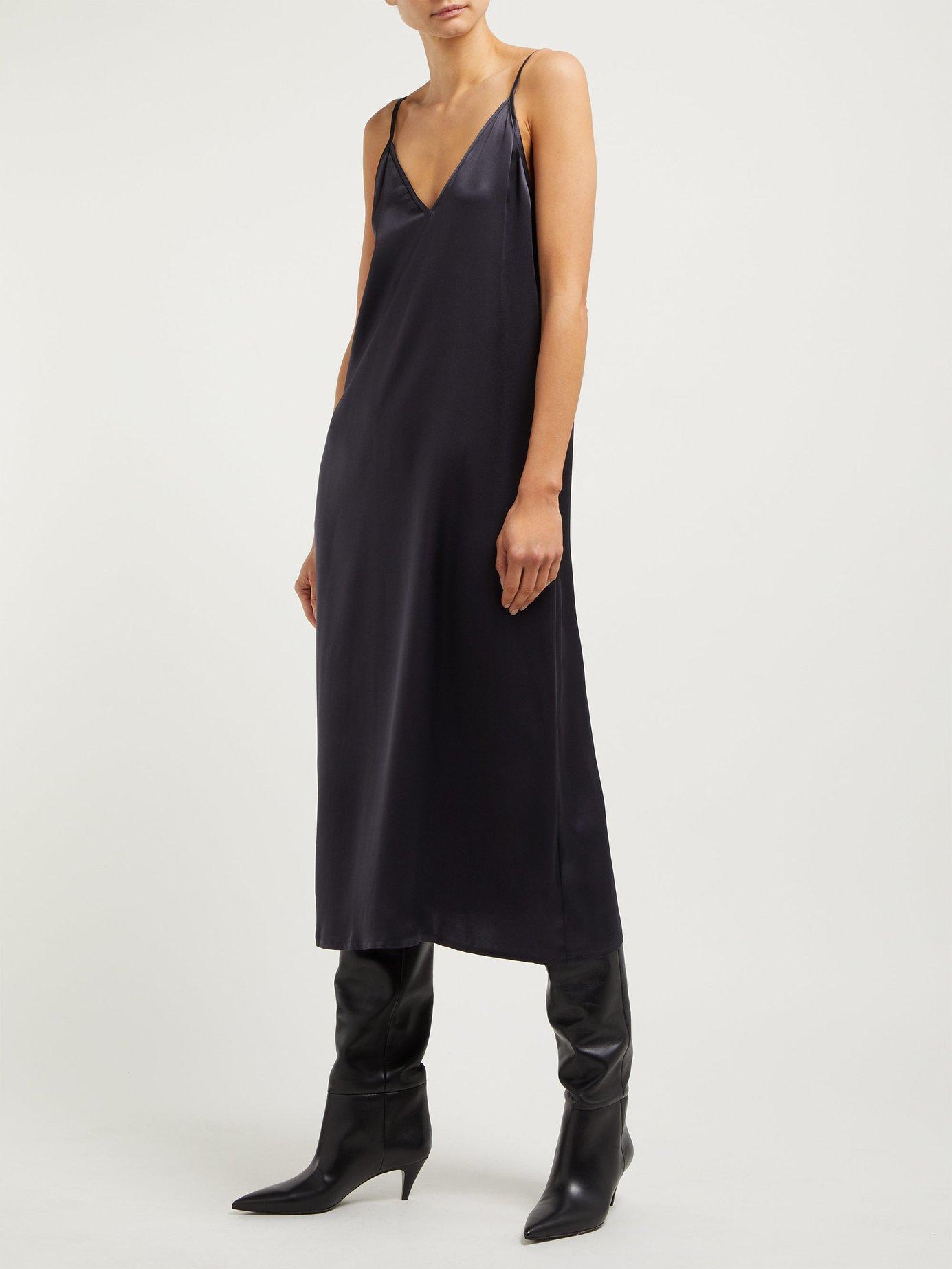 14129c4acf378 Lyst - Raey V Neck Silk Slip Dress in Blue
