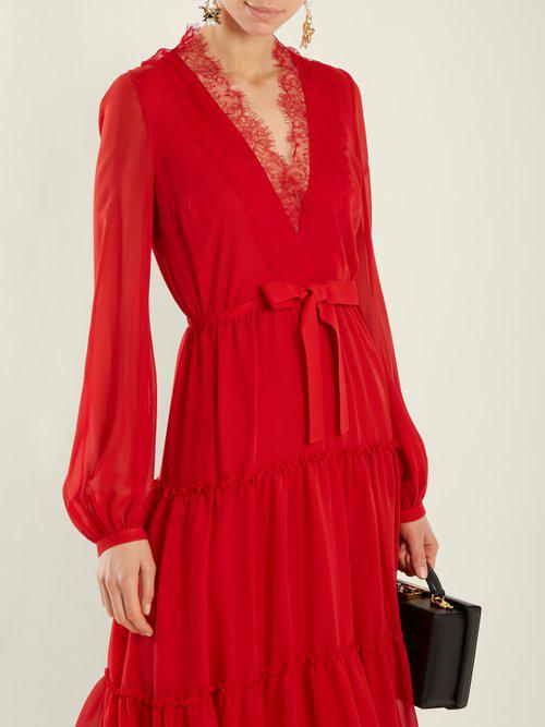 Lyst - Giambattista Valli V-neck Lace-trimmed Silk-georgette Dress ... 2ea970a52