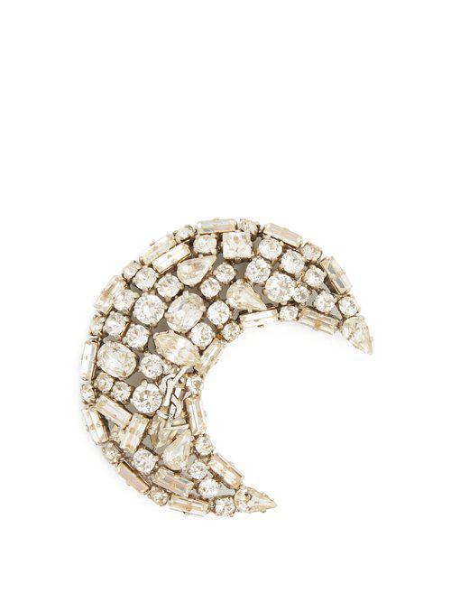 Saint Laurent Moon crystal-embellished brooch 7CV9X