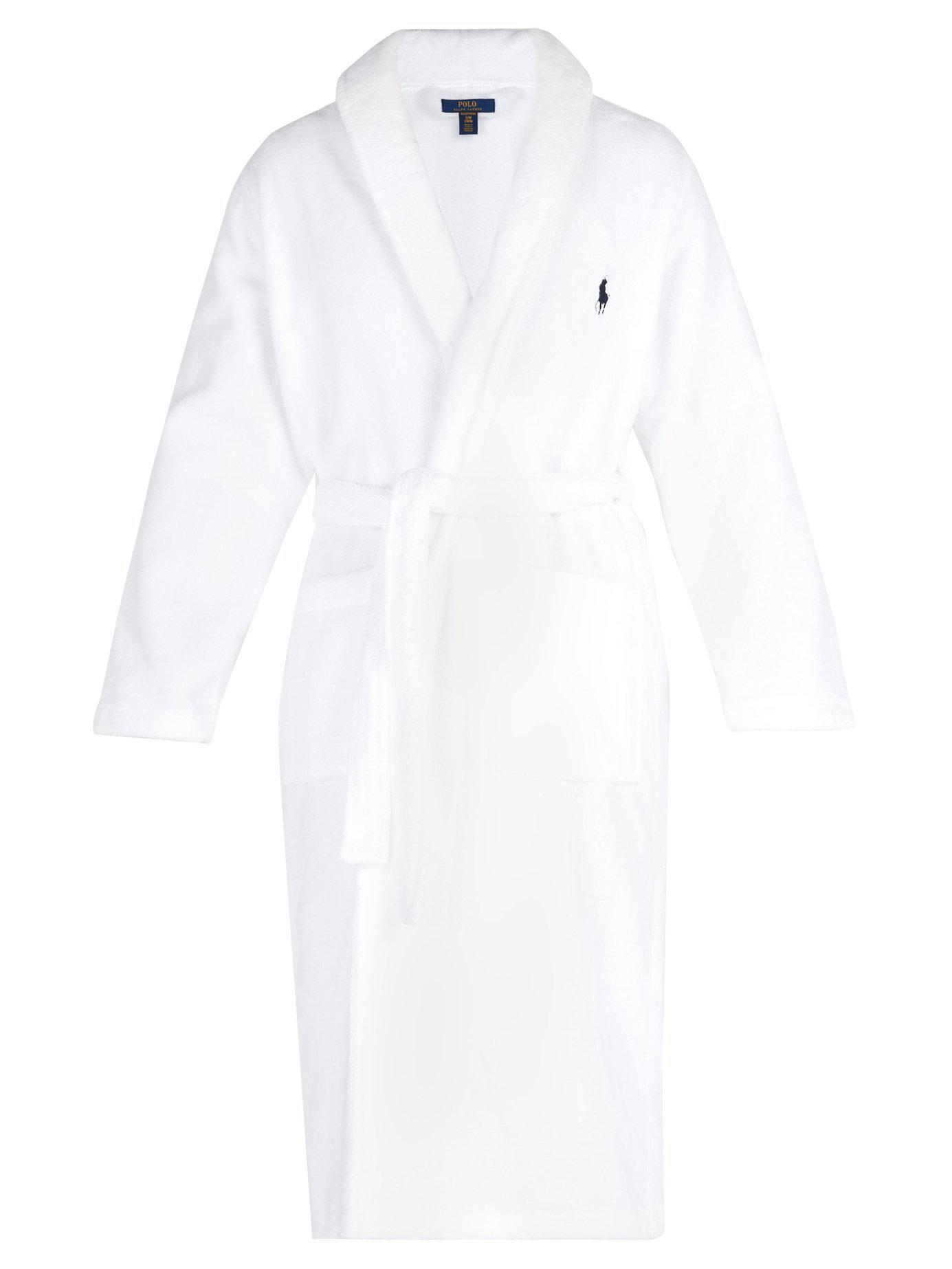Polo Ralph Lauren. Men s White Logo Embroidered Terry Towelling Cotton  Bathrobe 1b9c918fe4c2
