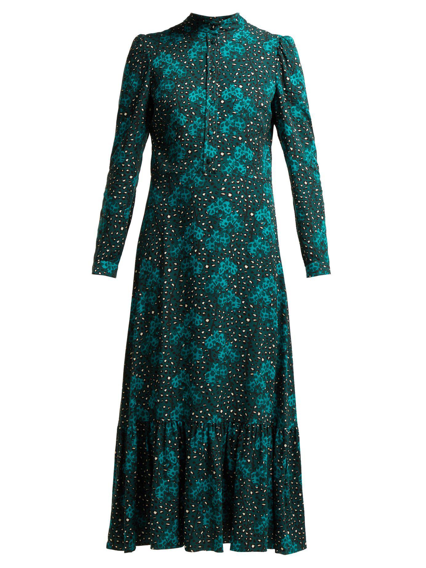3ba3e19394 Borgo De Nor. Women s Green Rafaela Orchid And Leopard Print Crepe Midi  Dress