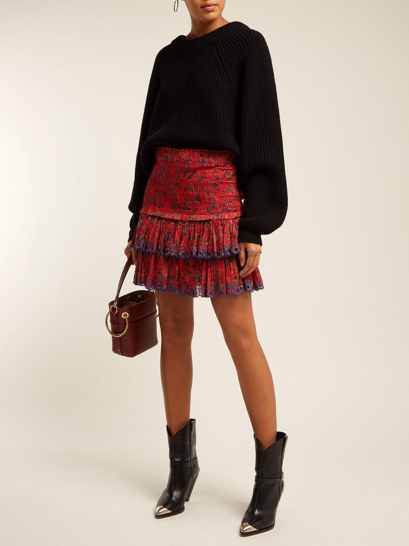 5def0ef78cff1 Étoile Isabel Marant Naomi Floral Print Mini Skirt in Red - Lyst