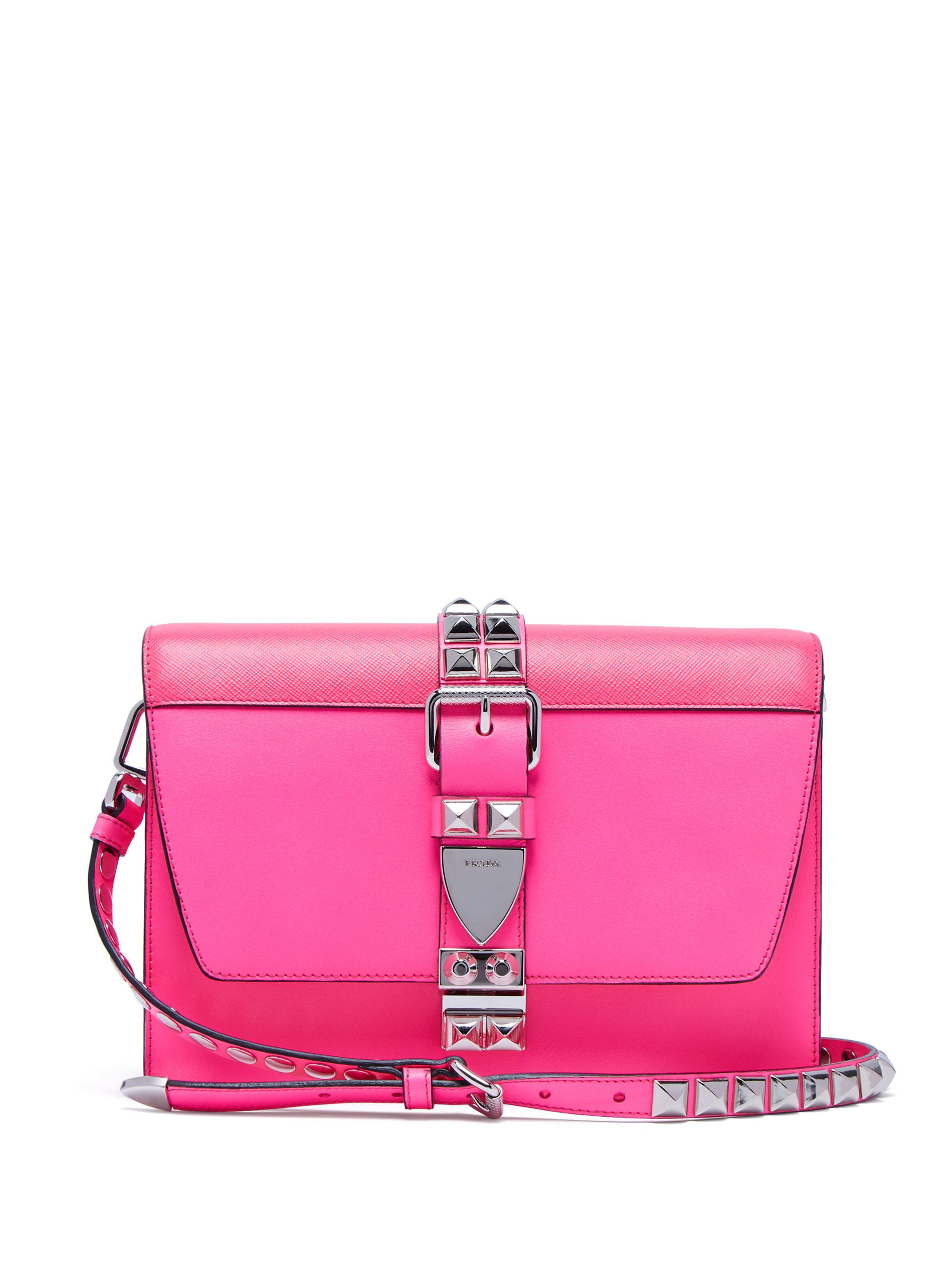Prada Women S Pink Elektra Studded Leather Shoulder Bag