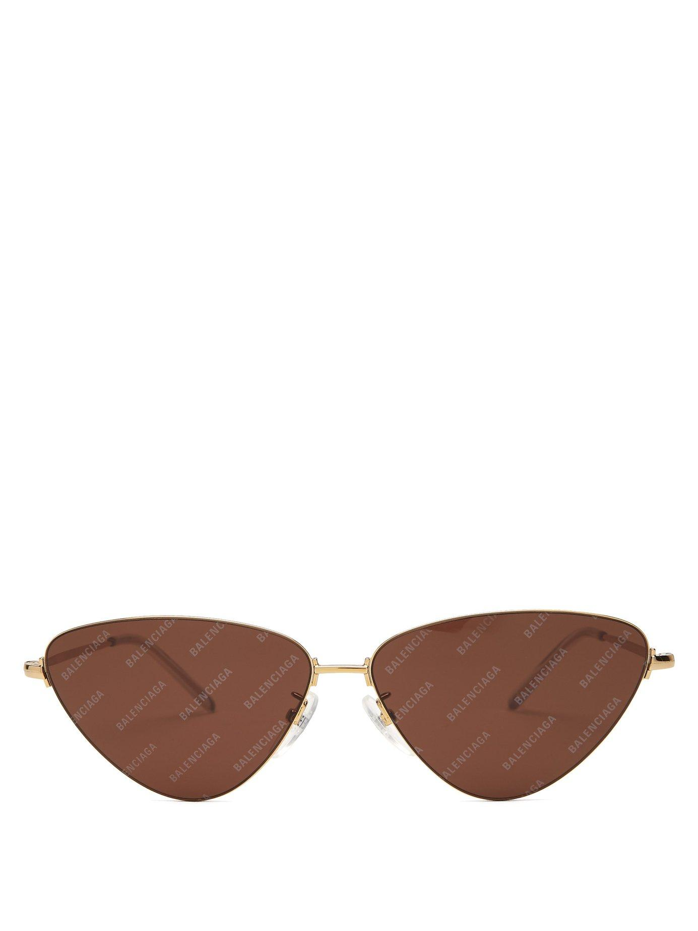 1f8e43d68d99 Lyst - Balenciaga Invisible Logo Cat Eye Metal Sunglasses in ...