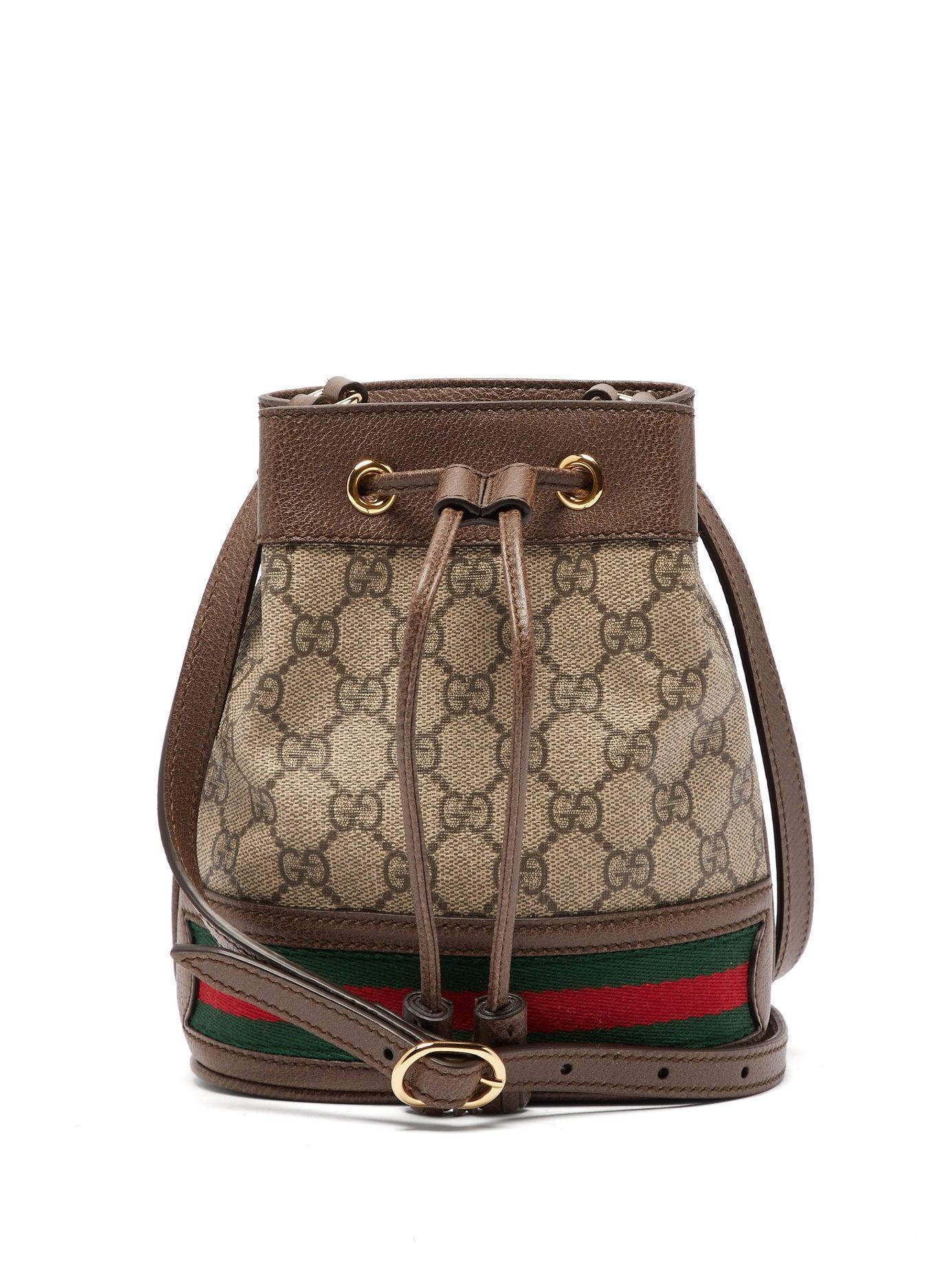 d32d6ef0d949 Gucci. Women's Ophidia Mini Gg & Web Stripe Canvas Bucket Bag
