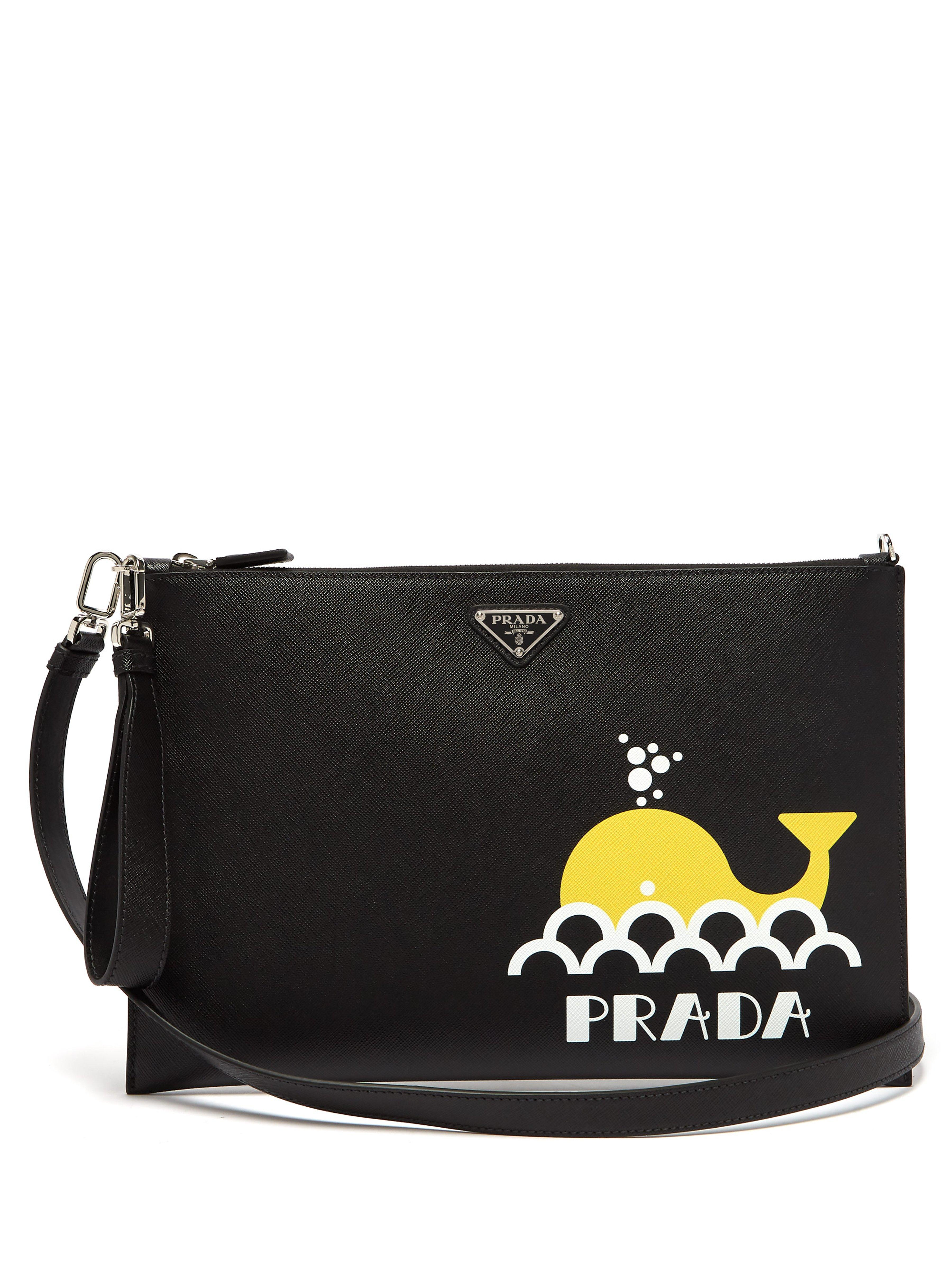 5754111194ef1f Prada - Black Whale Print Leather Pouch for Men - Lyst. View fullscreen