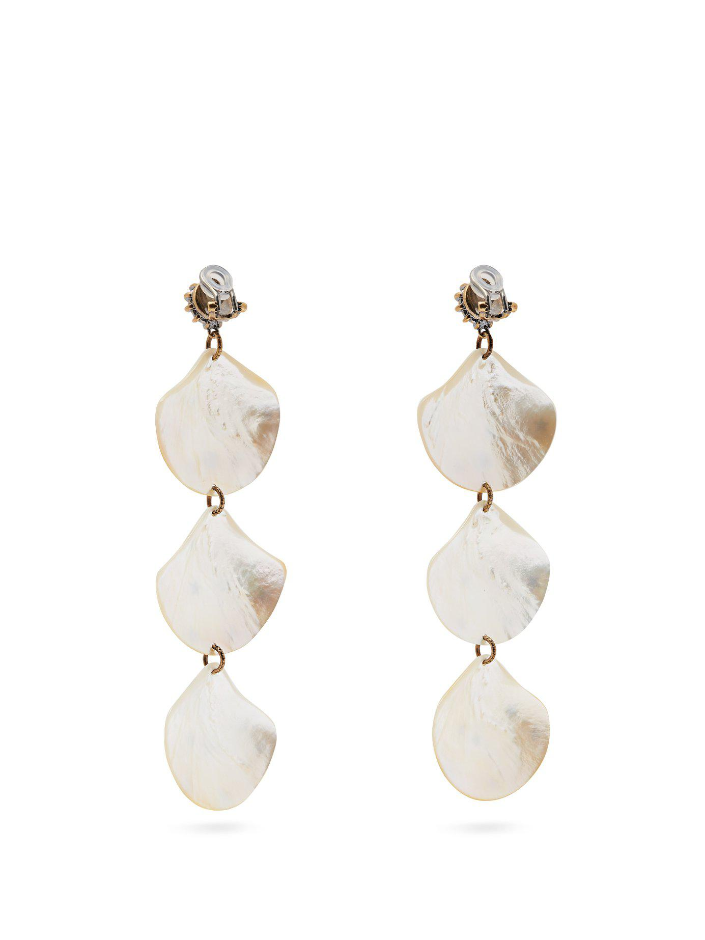 4b49bca1d1f Lyst - Gucci Gg Mother Of Pearl Shell Drop Earrings in Metallic