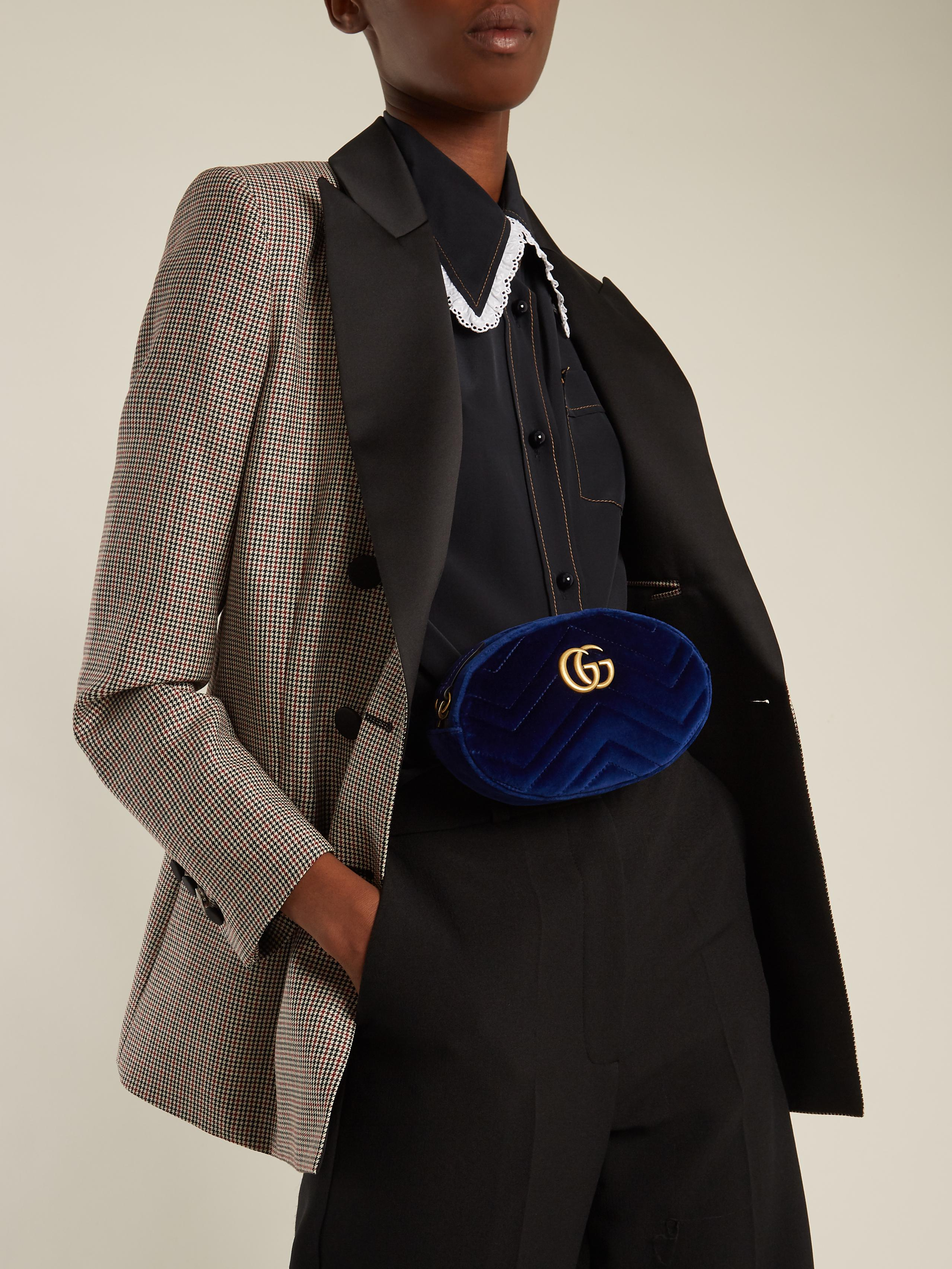 d884a5a69 Gucci Gg Marmont Quilted-velvet Belt Bag in Blue - Lyst