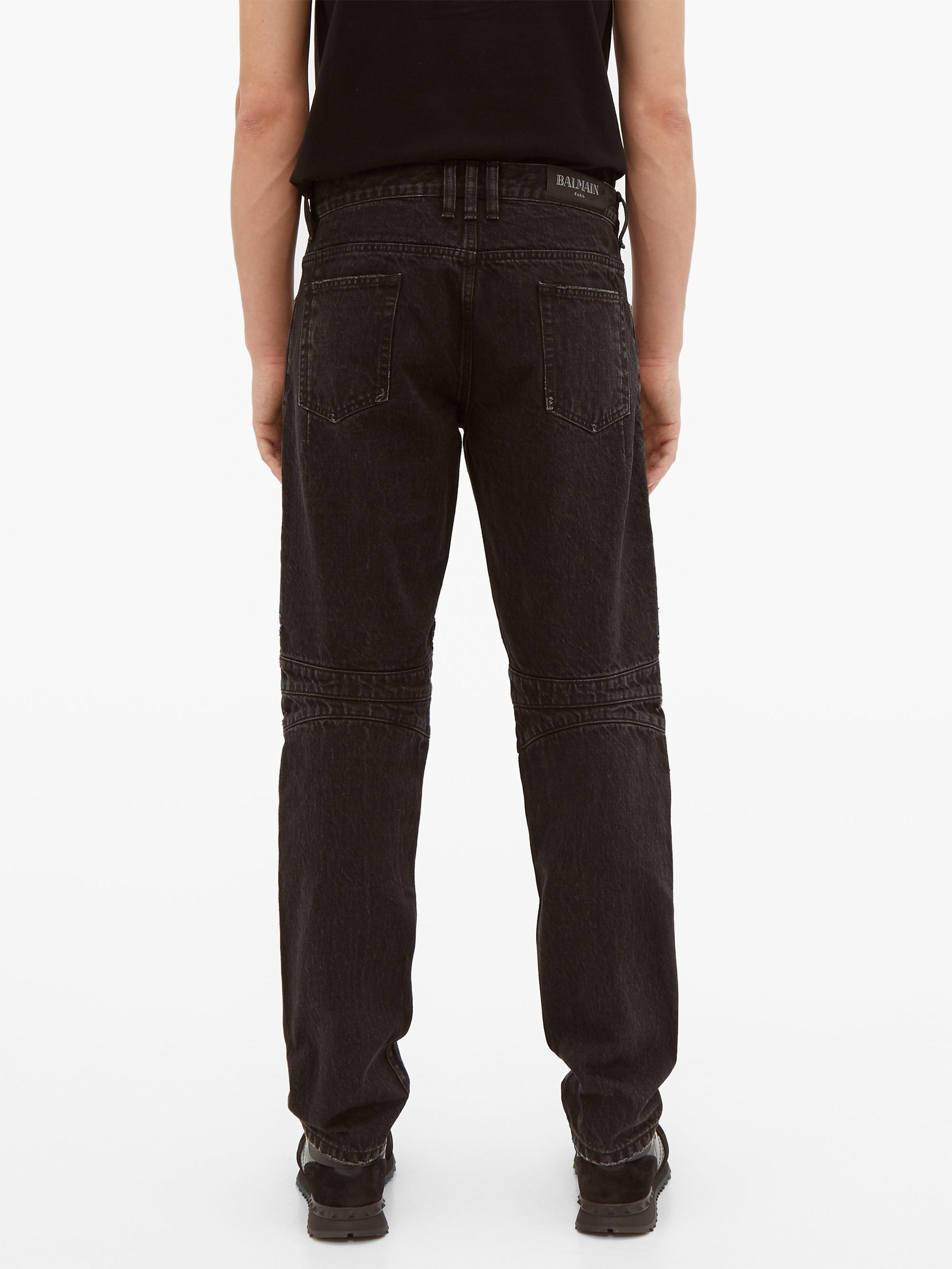 e12fcf25 Balmain - Black Distressed Straight Leg Biker Jeans for Men - Lyst. View  fullscreen