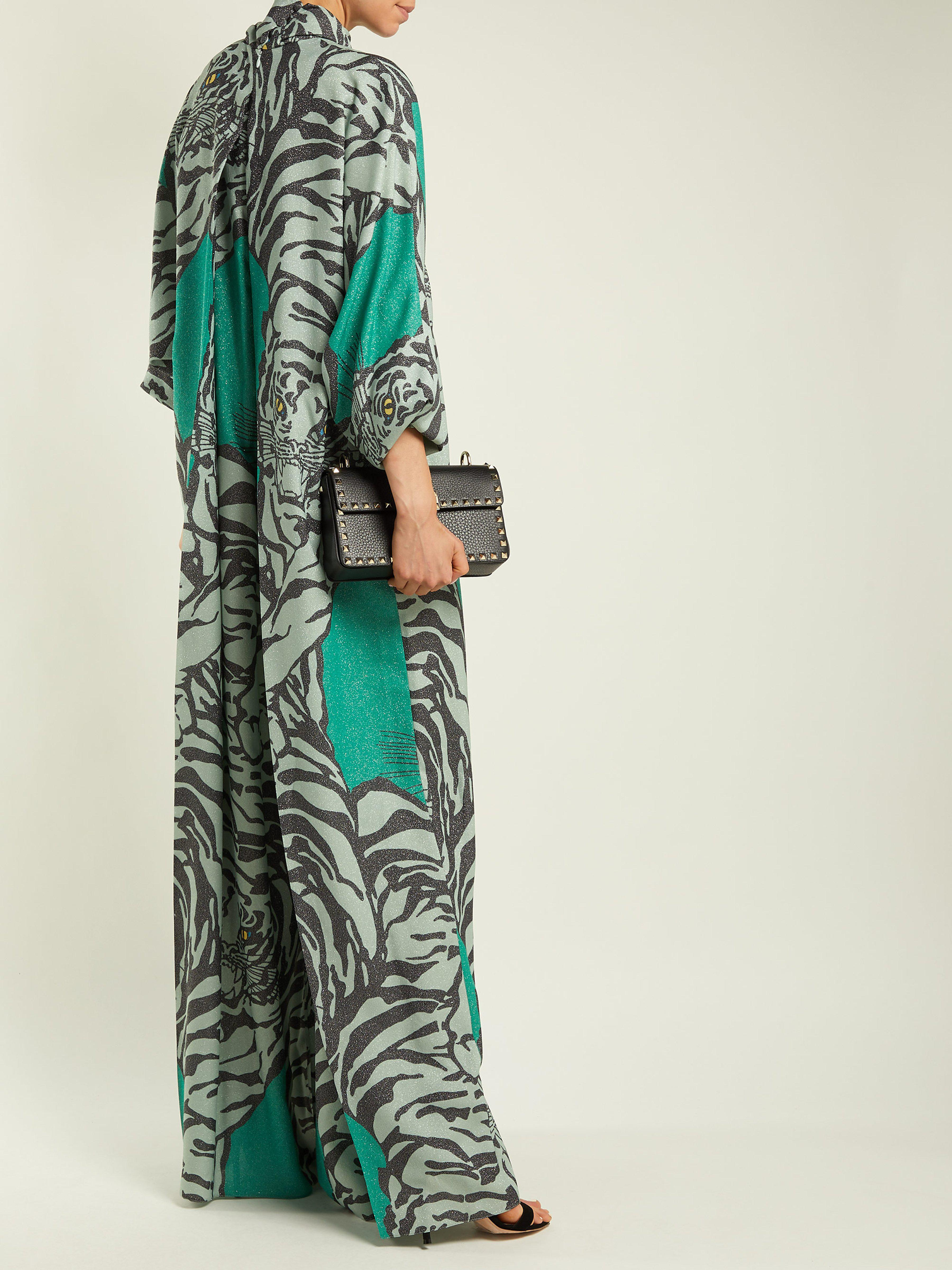 d9e25c2746 Valentino Tiger-print Wide-leg Jumpsuit in Green - Lyst