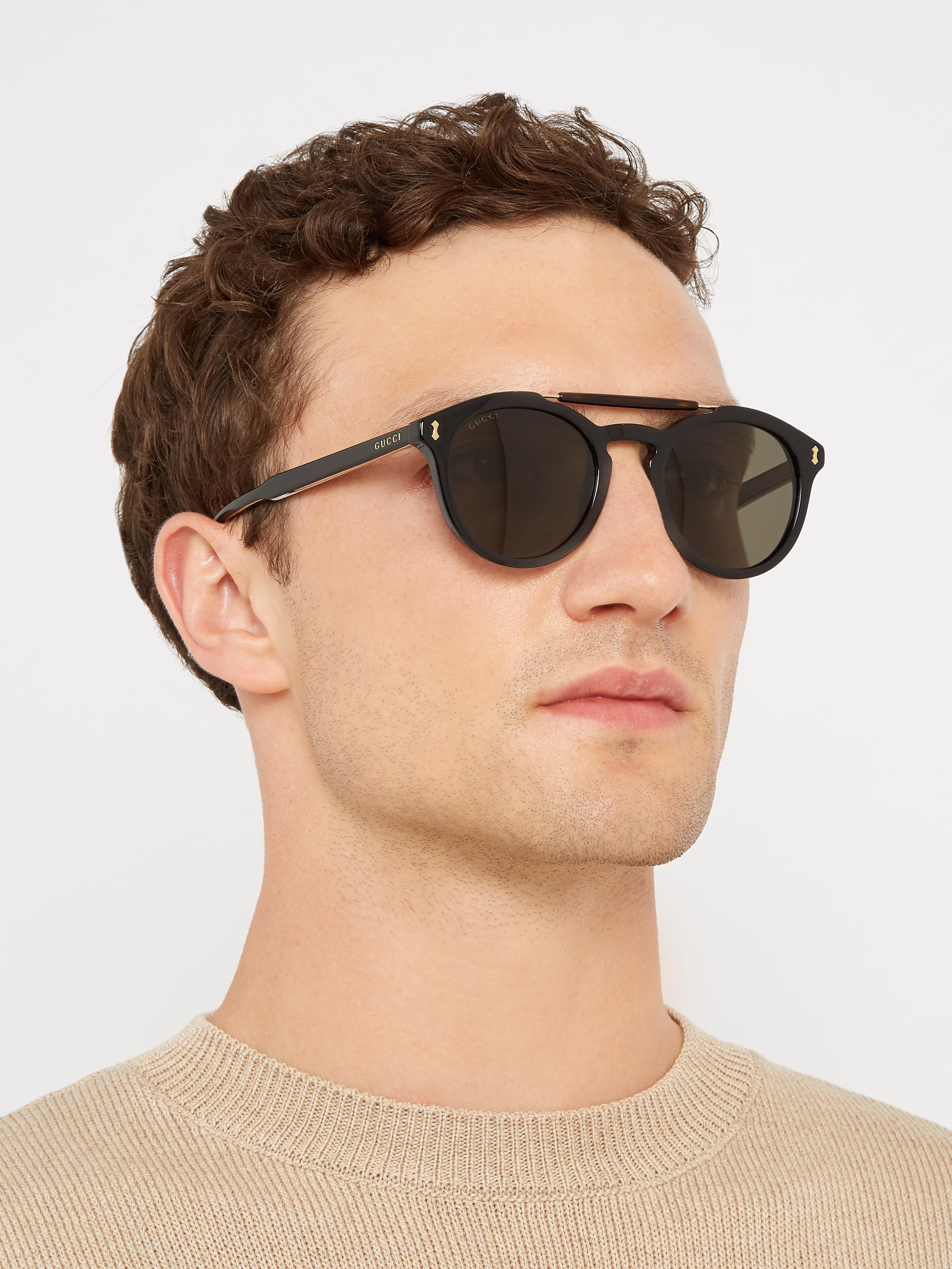 c053ee71327 Lyst - Gucci Round-frame Acetate Sunglasses in Black for Men