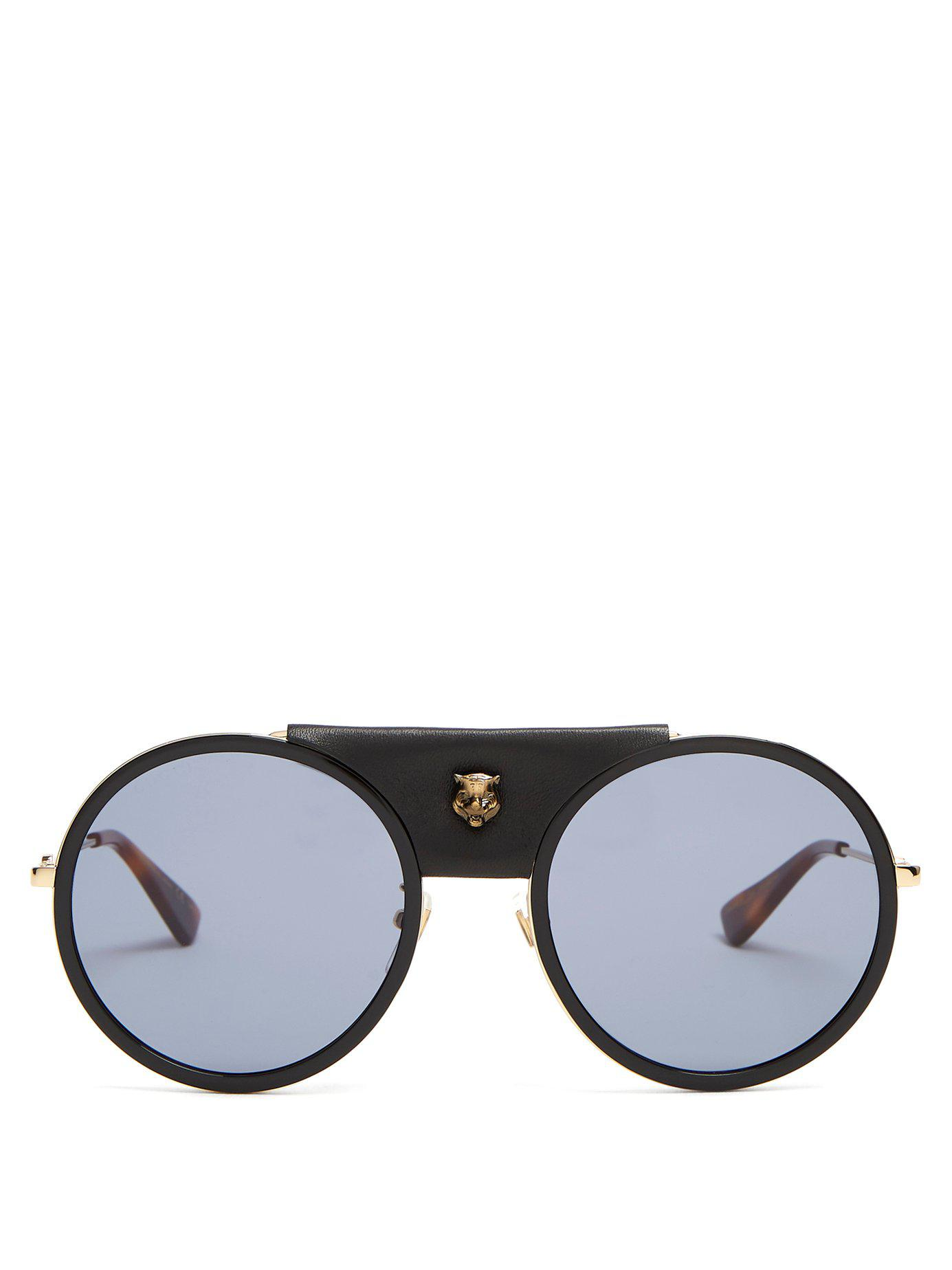 2409ff43353 Lyst - Gucci Round Frame Leather Trimmed Metal Sunglasses in Black ...