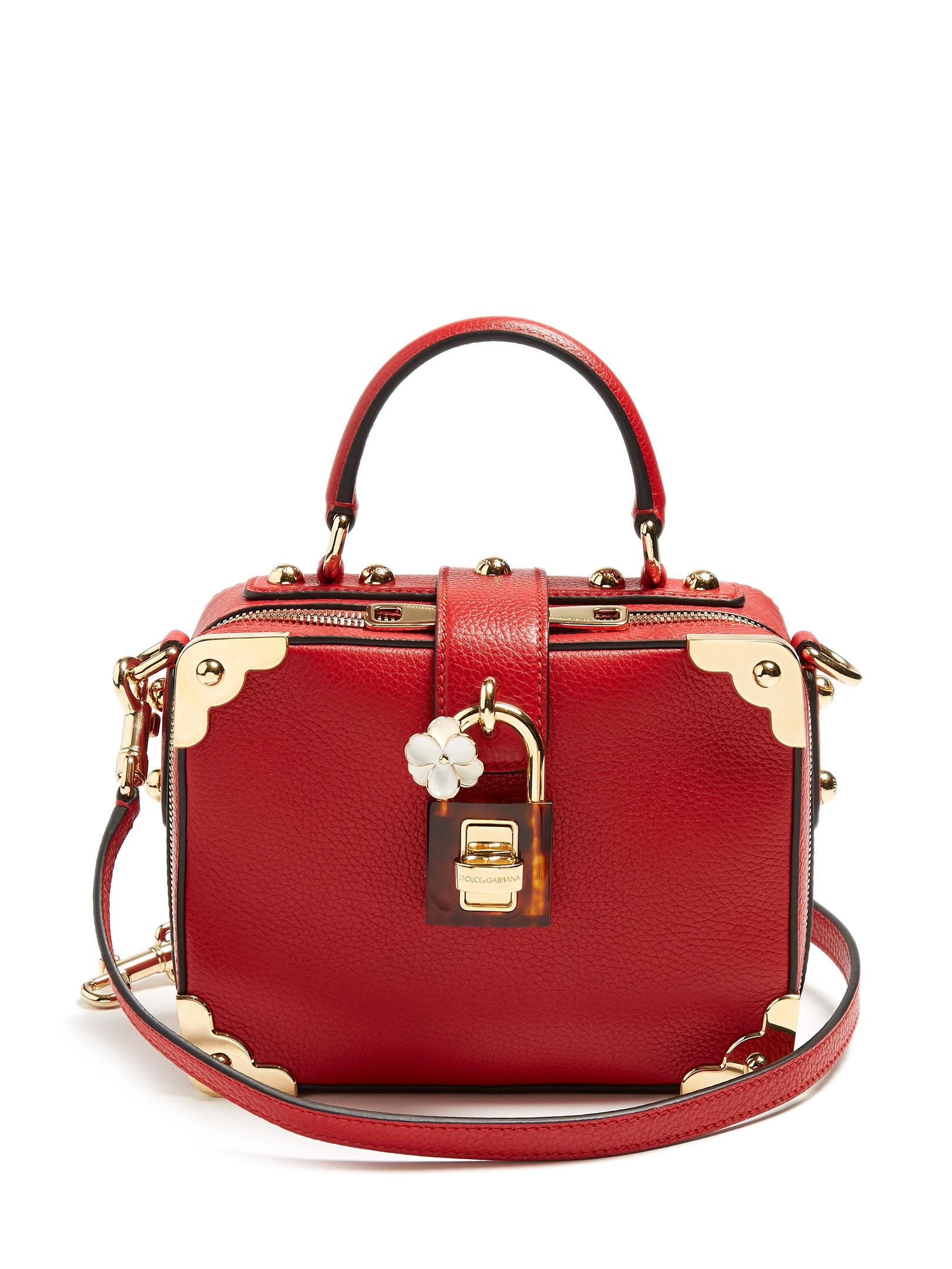76b2a7e627 Lyst - Dolce   Gabbana Dolce Soft Grained-leather Box Bag in Red