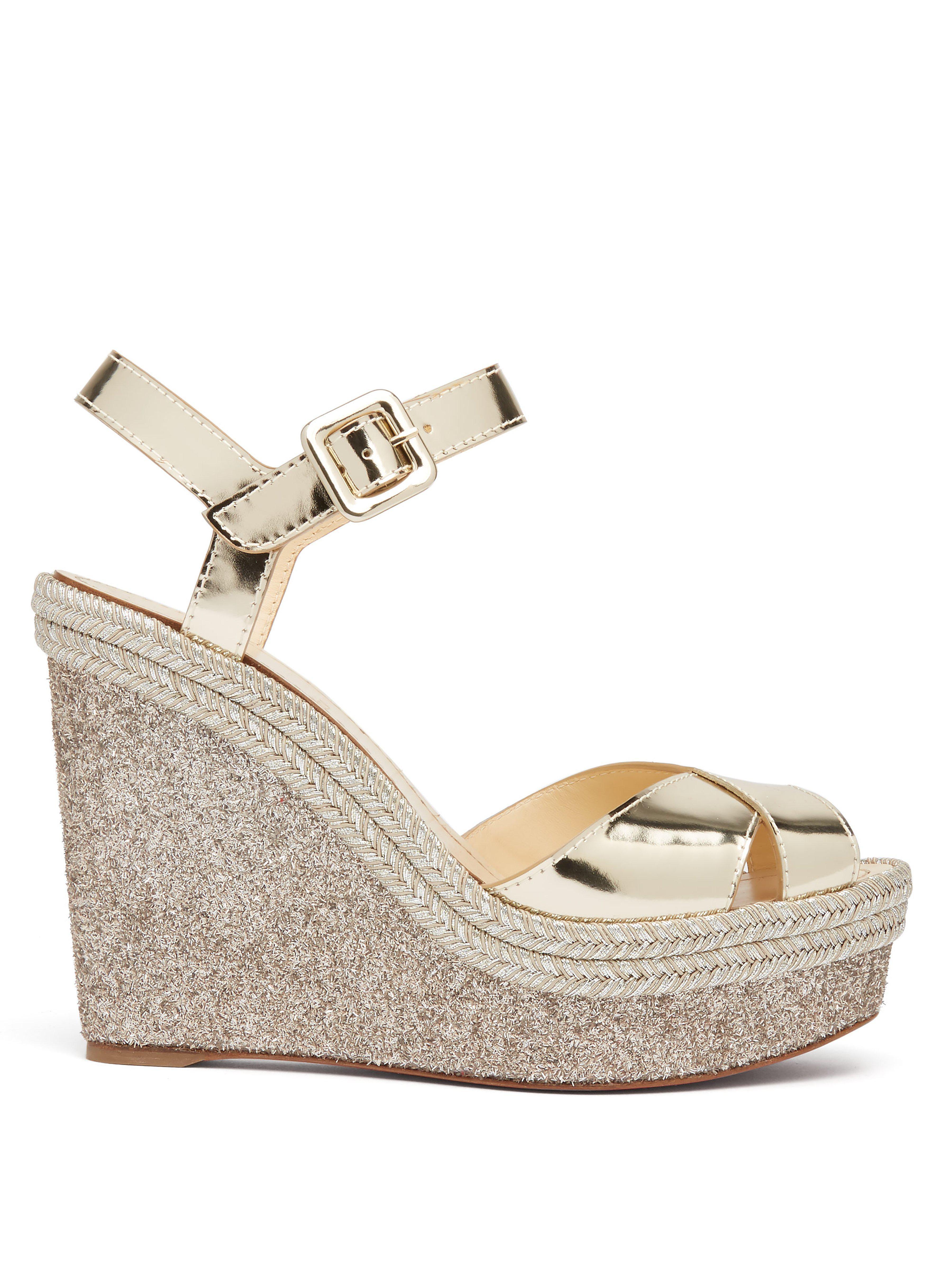 8514468175e Christian Louboutin. Women s Almeria Metallic Leather Espadrille Wedge  Sandals