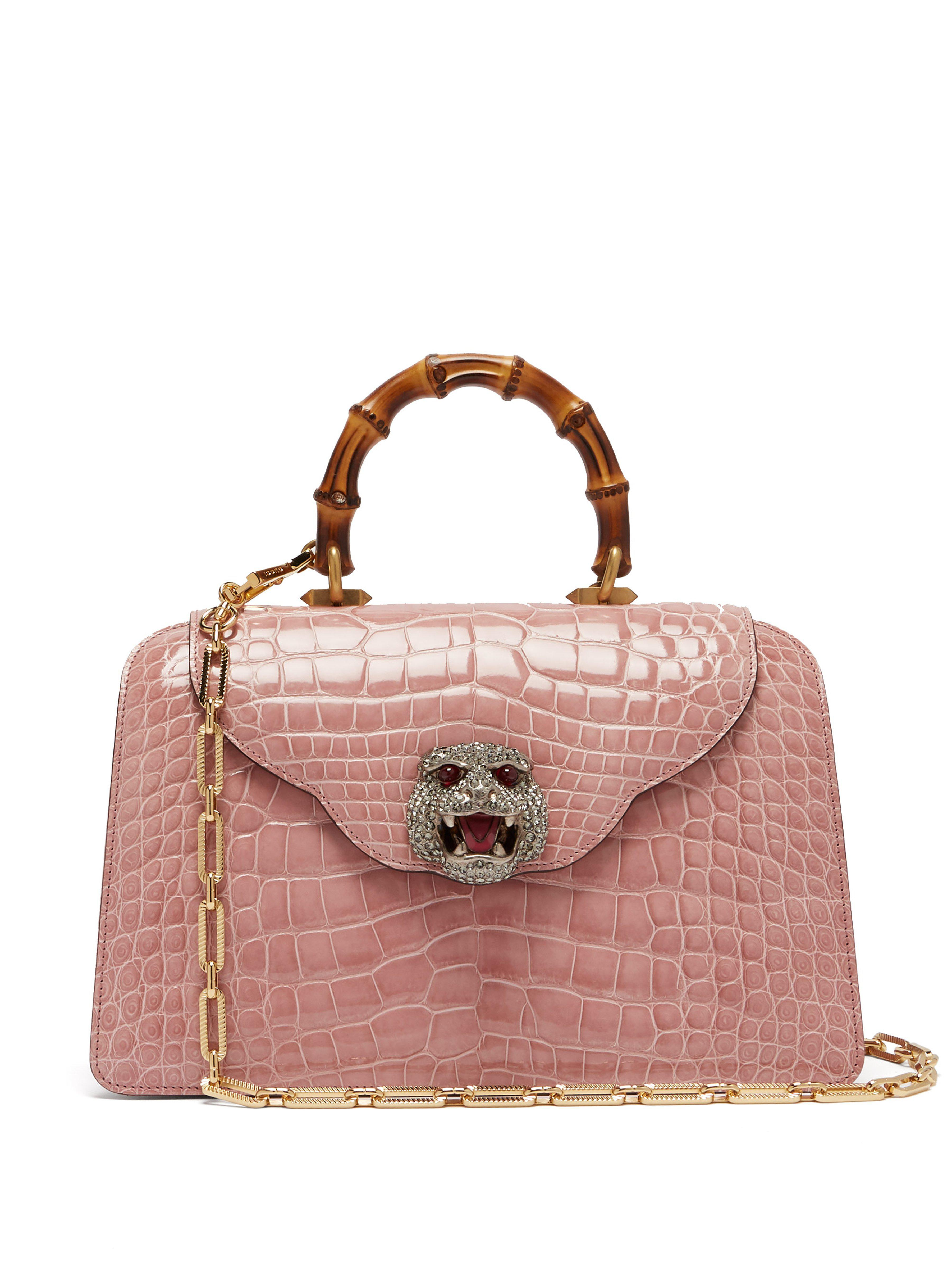 556bb1abad384 Gucci Thiara Bamboo Handle Crocodile Leather Bag in Pink - Lyst