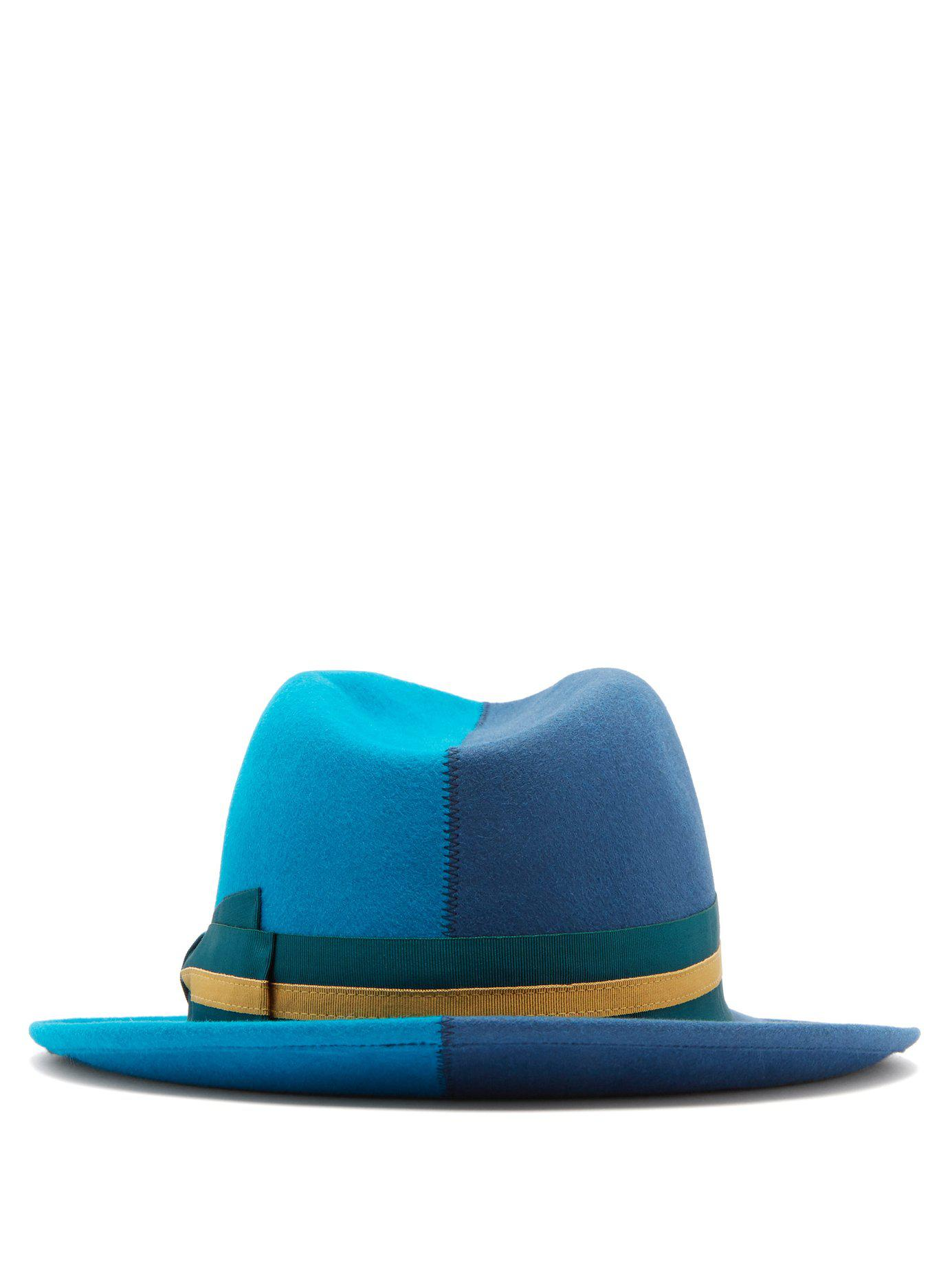 Borsalino fur felt blue striped band that