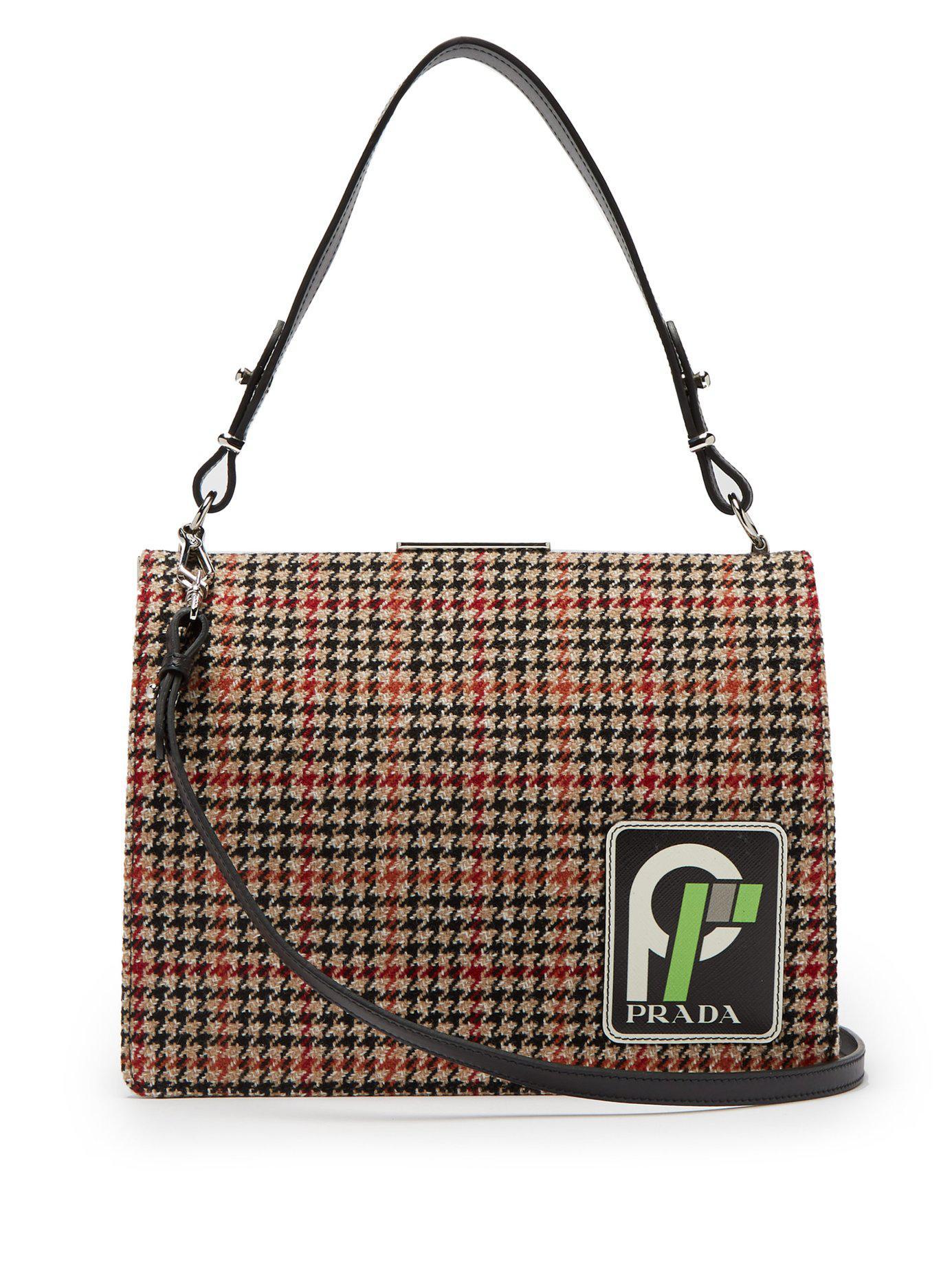 c7f984ef7563 Prada - Black Frame Logo Patch Houndstooth Bag - Lyst. View fullscreen