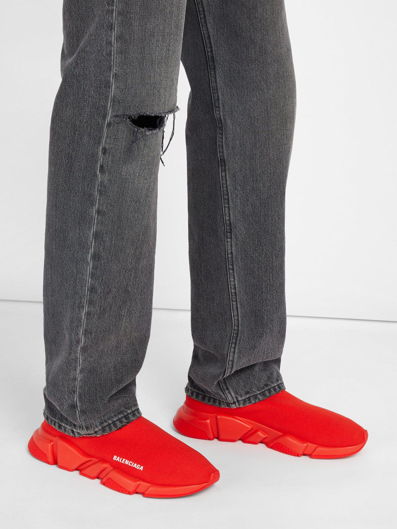 c7fbc8e54f0f Lyst - Balenciaga Speed Red Stretch-knit Trainers in Red for Men - Save 20%