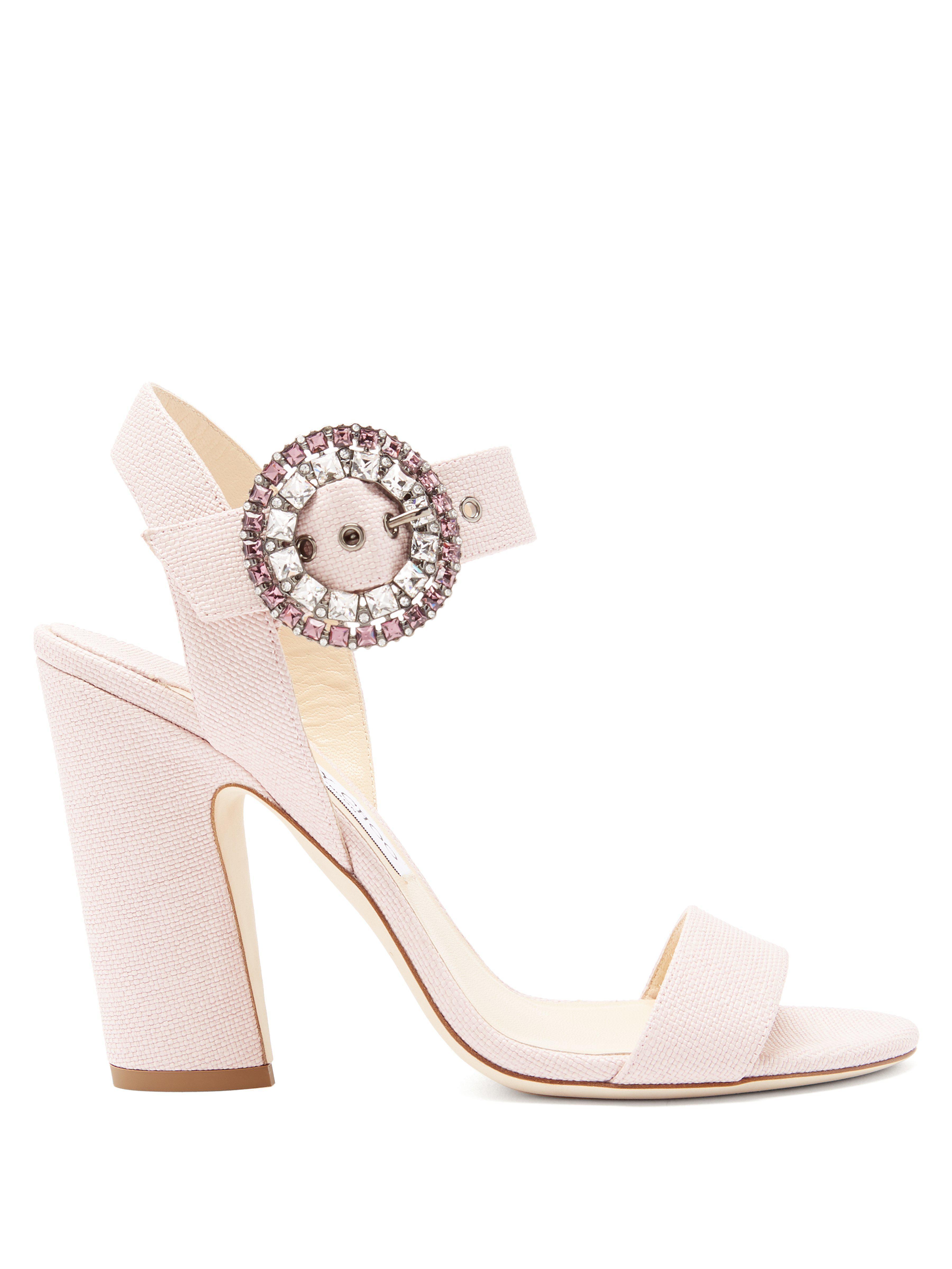 fa88ebc43dfe Jimmy Choo Mischa 100 Raffia Sandals in Pink - Lyst