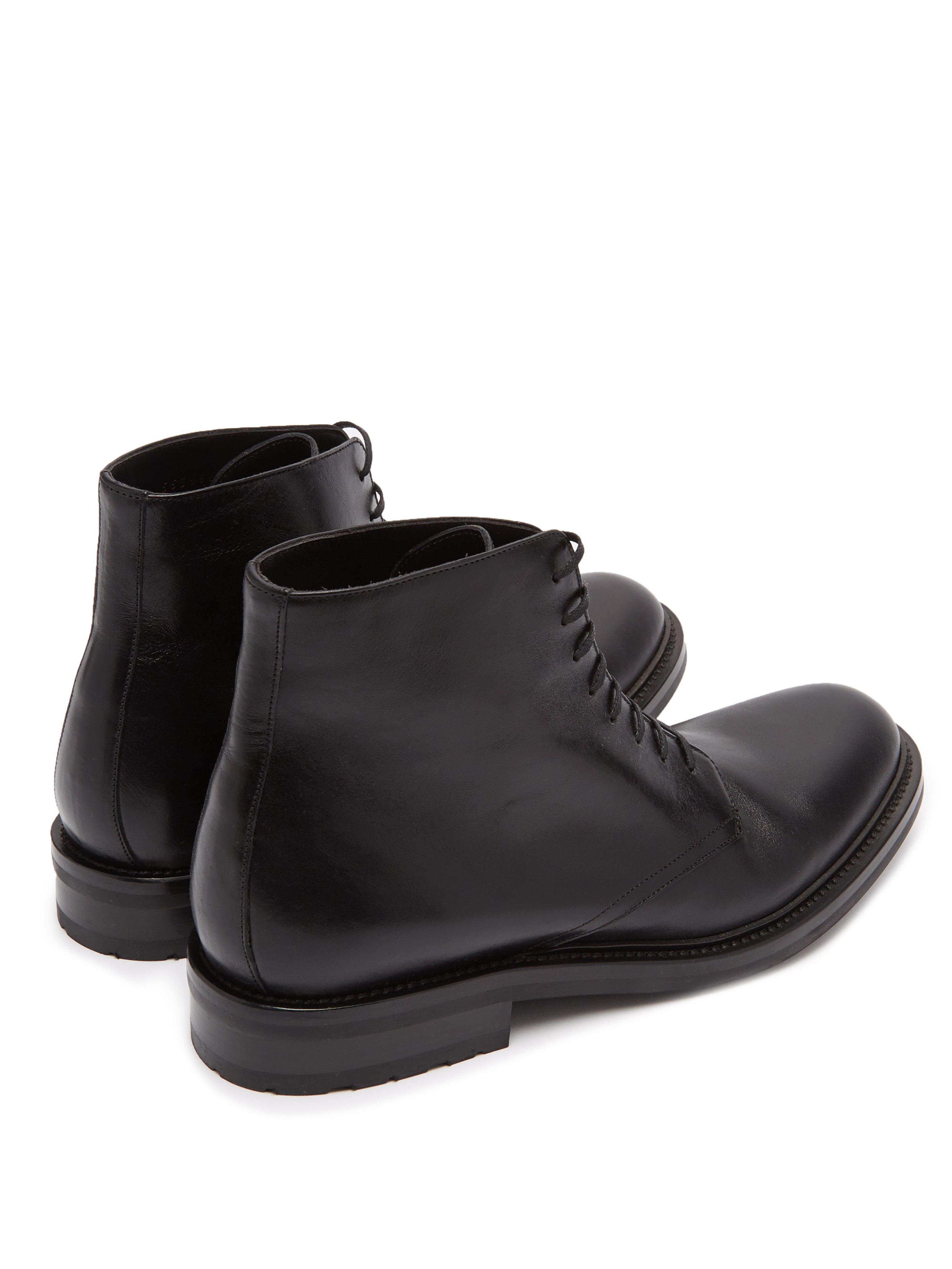 8df51612624 Saint Laurent Army Lace Up Leather Boots in Black for Men - Lyst