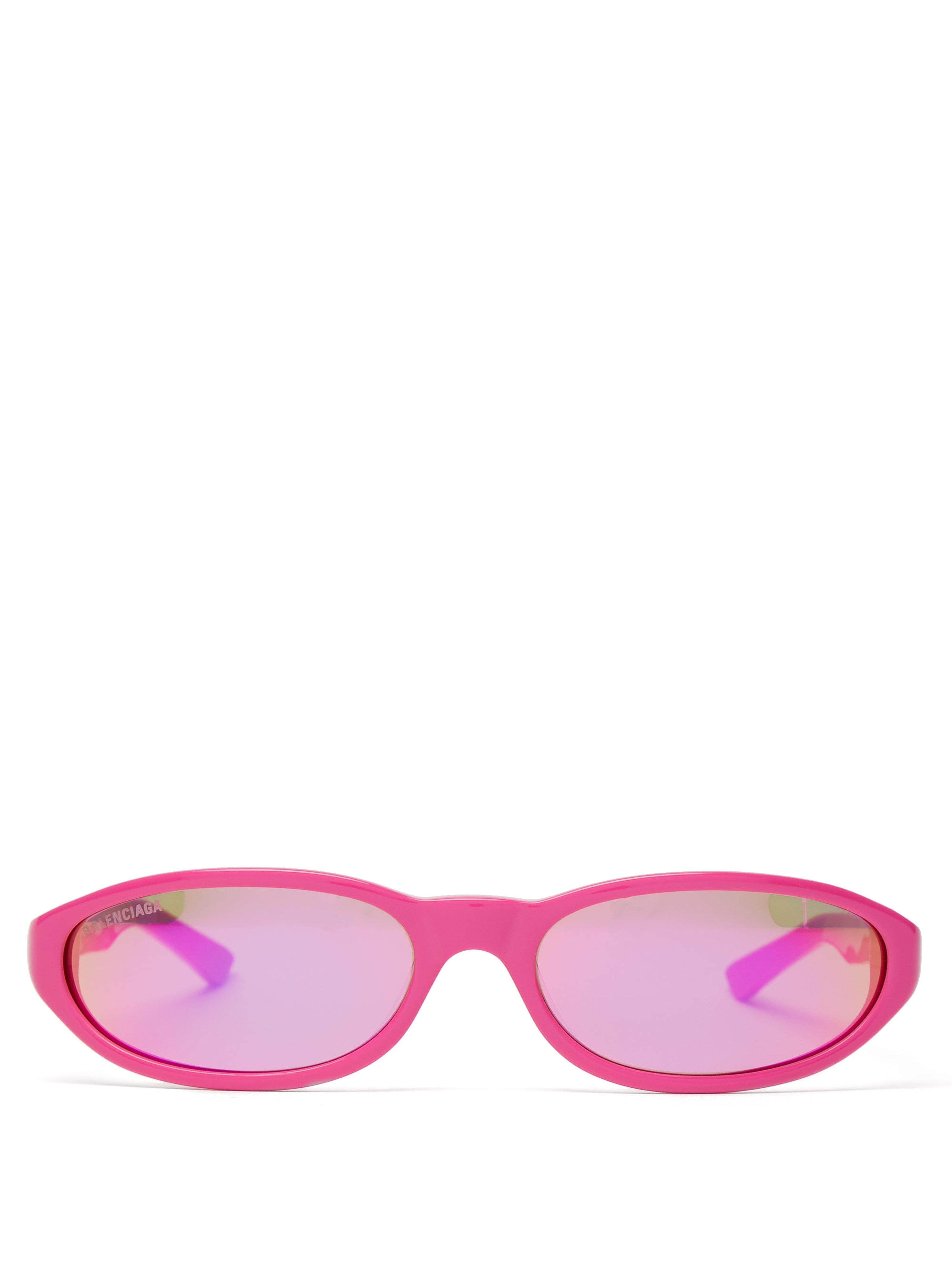 e45da72718 Balenciaga Neo Oval Frame Acetate Sunglasses in Pink for Men - Lyst
