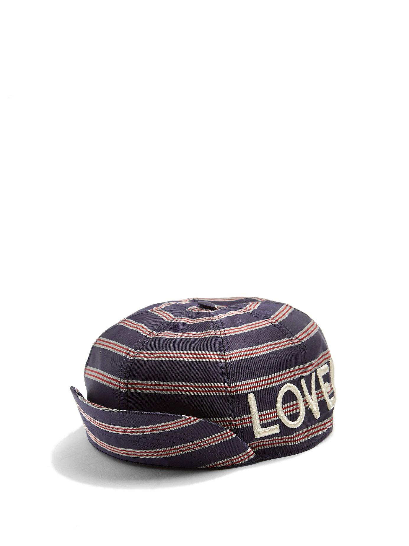 769214b2530 Gucci - Blue Embroidered Striped Satin Cap for Men - Lyst. View fullscreen