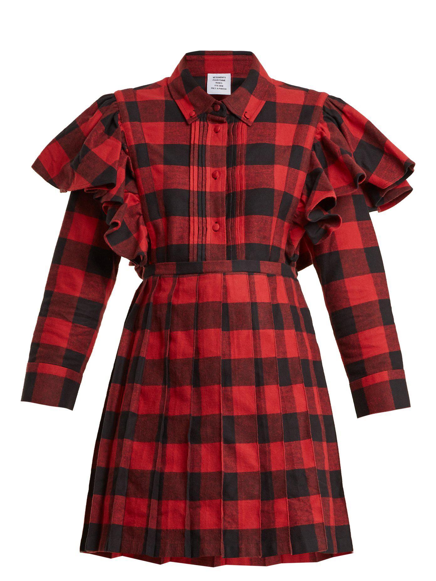 Point-collar checked cotton-flannel dress VETEMENTS sqbM3QQO4