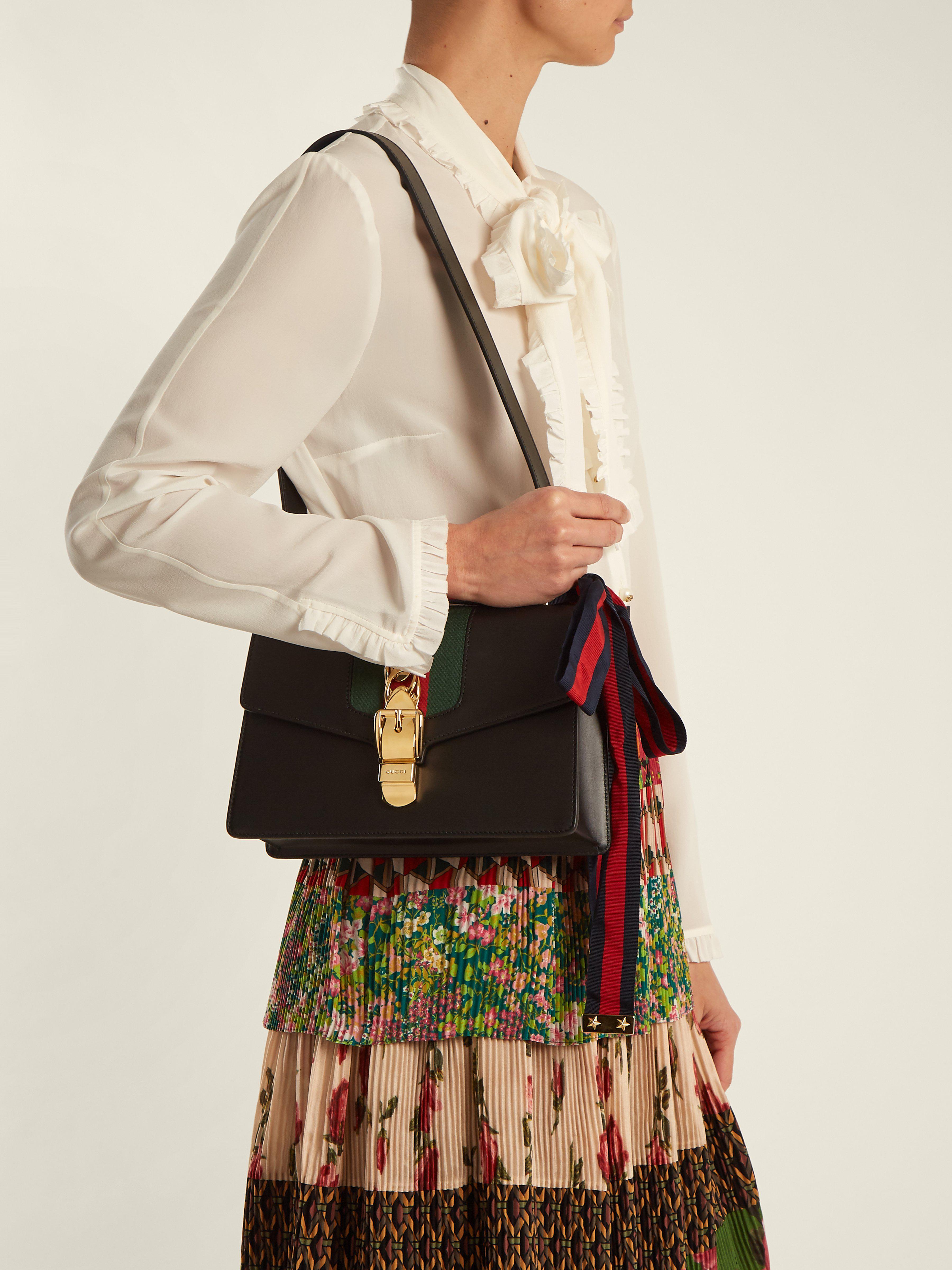 82cfe331290d38 Gucci Sylvie Leather Shoulder Bag in Black - Save 23% - Lyst