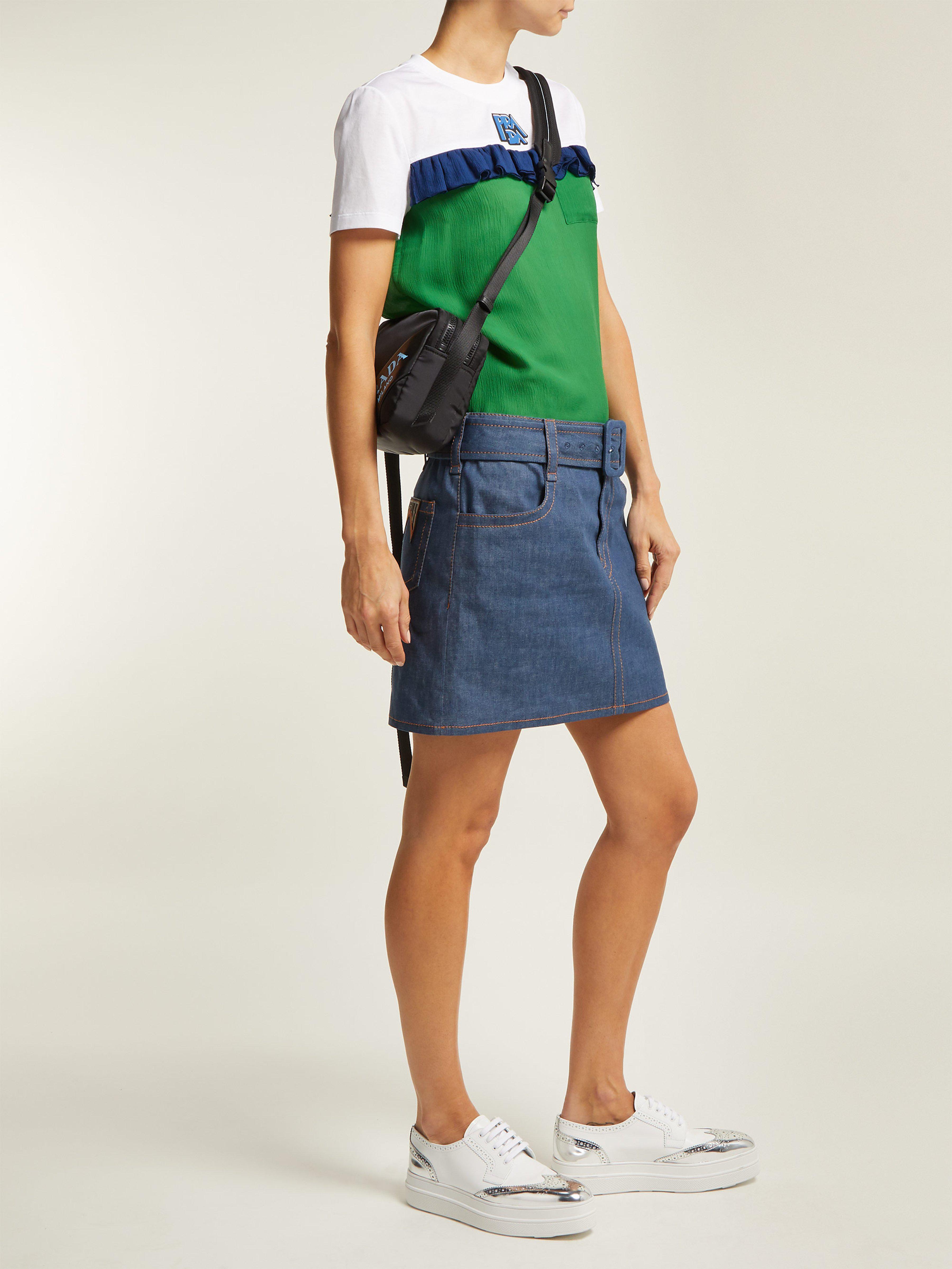 0801da2f1b1a8 Prada Ruffle Trimmed Cotton And Chiffon T Shirt in Green - Lyst