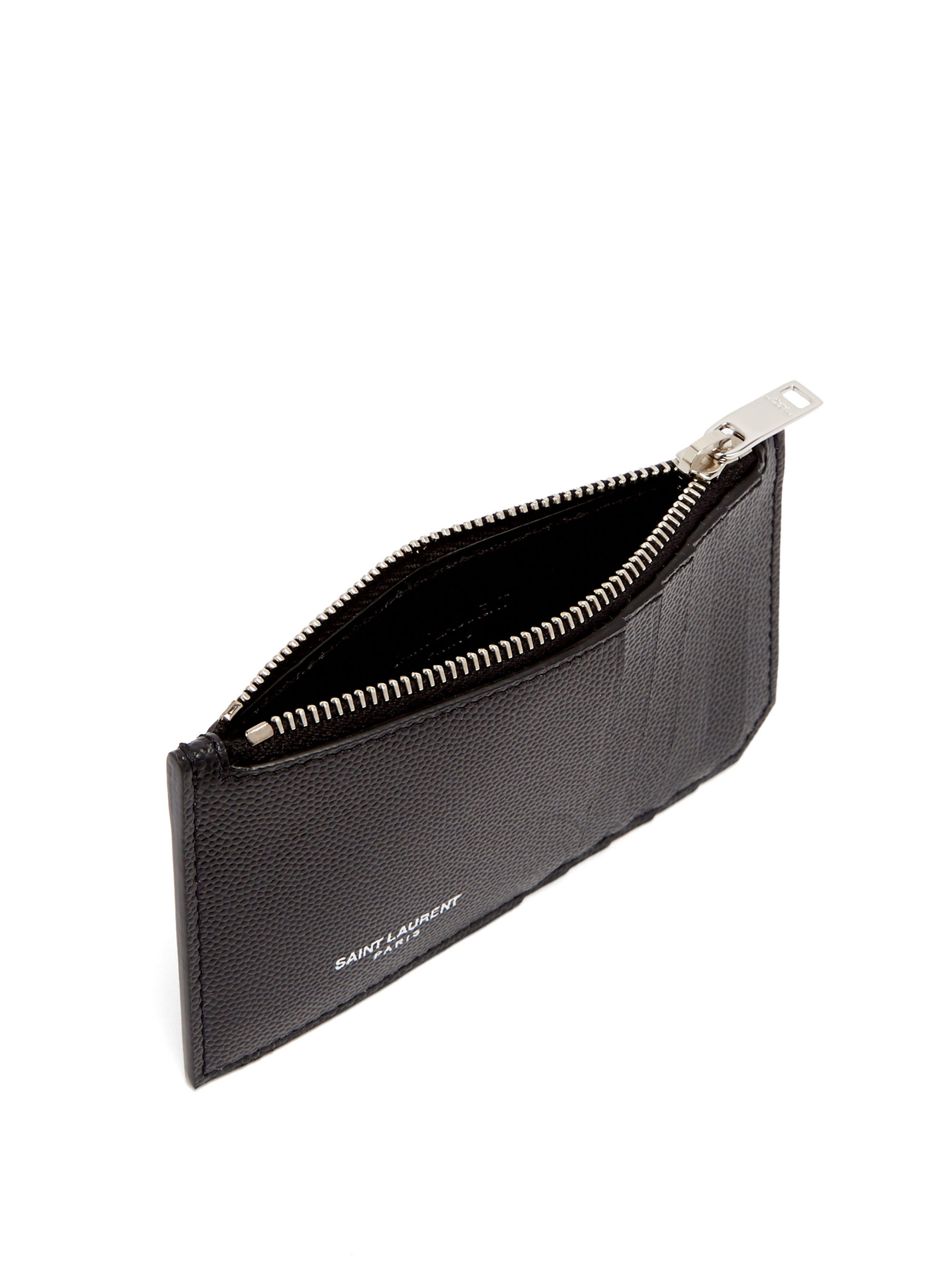 672bcf00c2c Saint Laurent Grained Leather Cardholder in Black for Men - Save 31% - Lyst