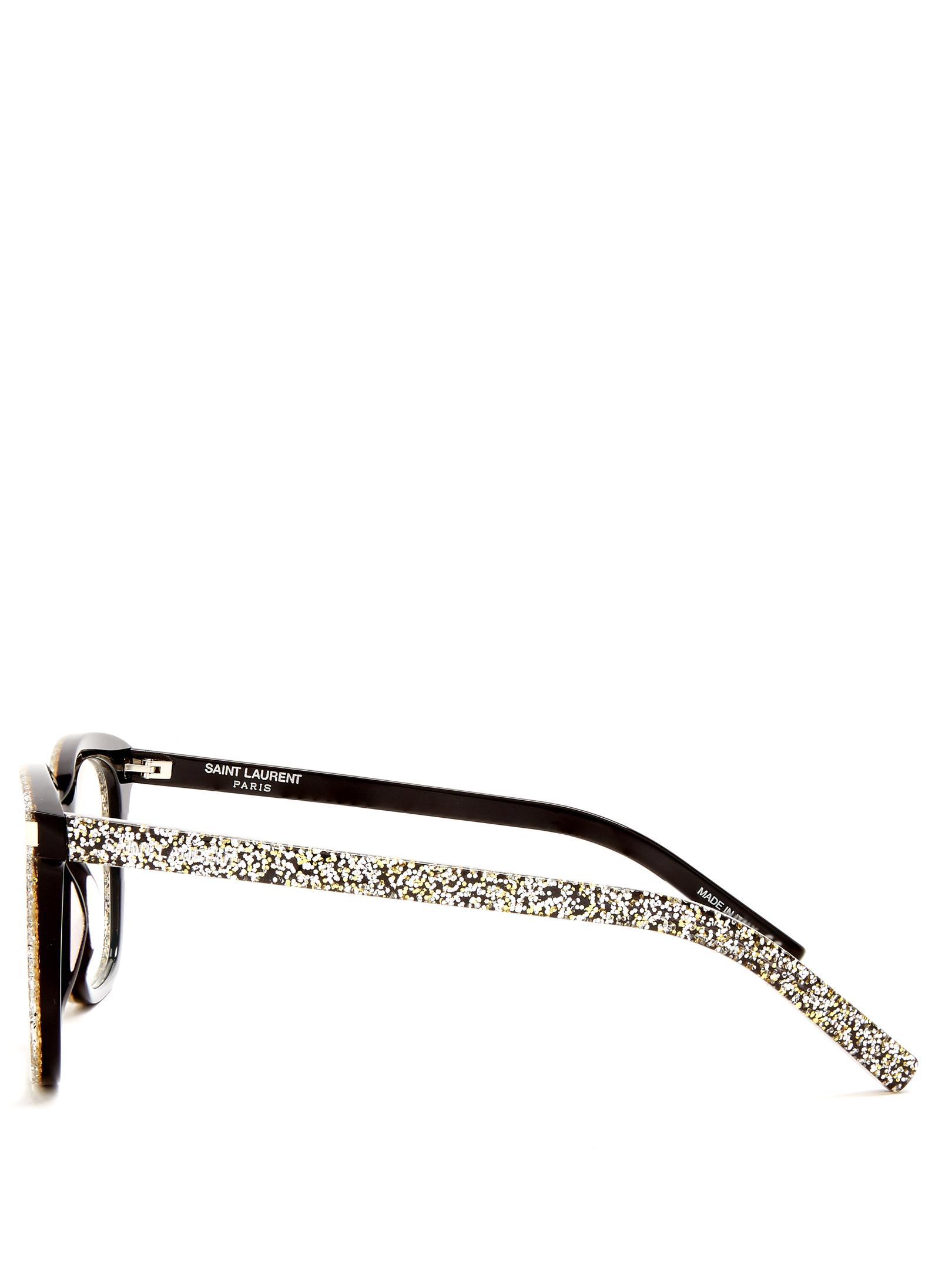 7cf9265fc0 Lyst - Saint Laurent D-frame Glitter-acetate Glasses in Metallic