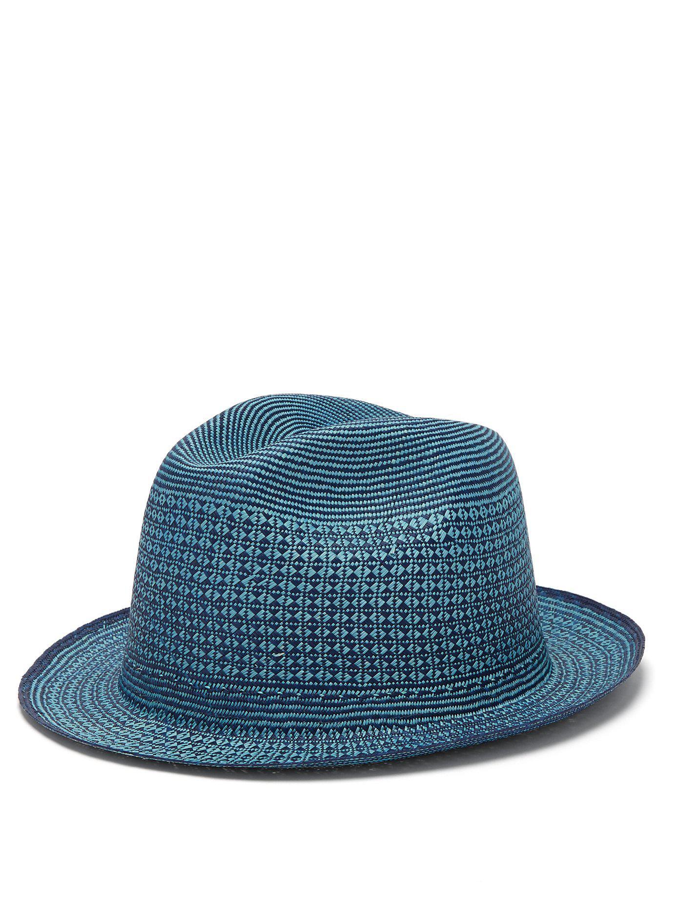 4a1ed608 Guanabana - Blue Geometric Straw Panama Hat for Men - Lyst. View fullscreen