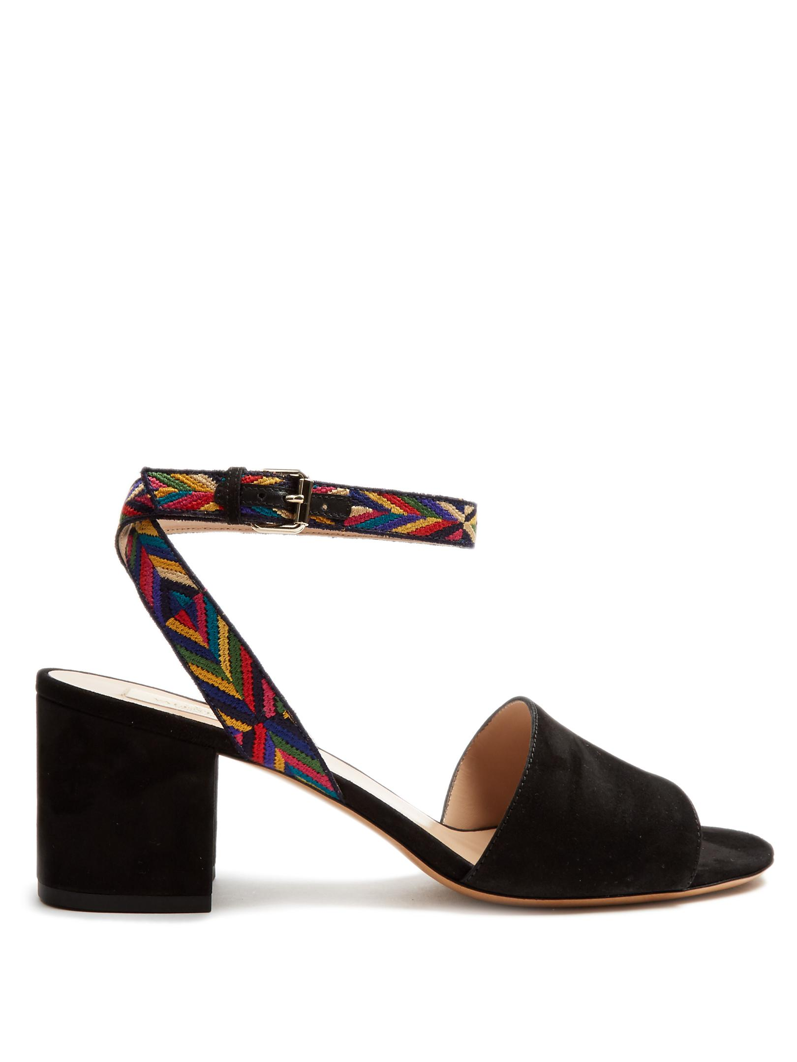 top quality outlet for nice Valentino Suede Embroidered Sandals sale outlet store Ug1QDZ
