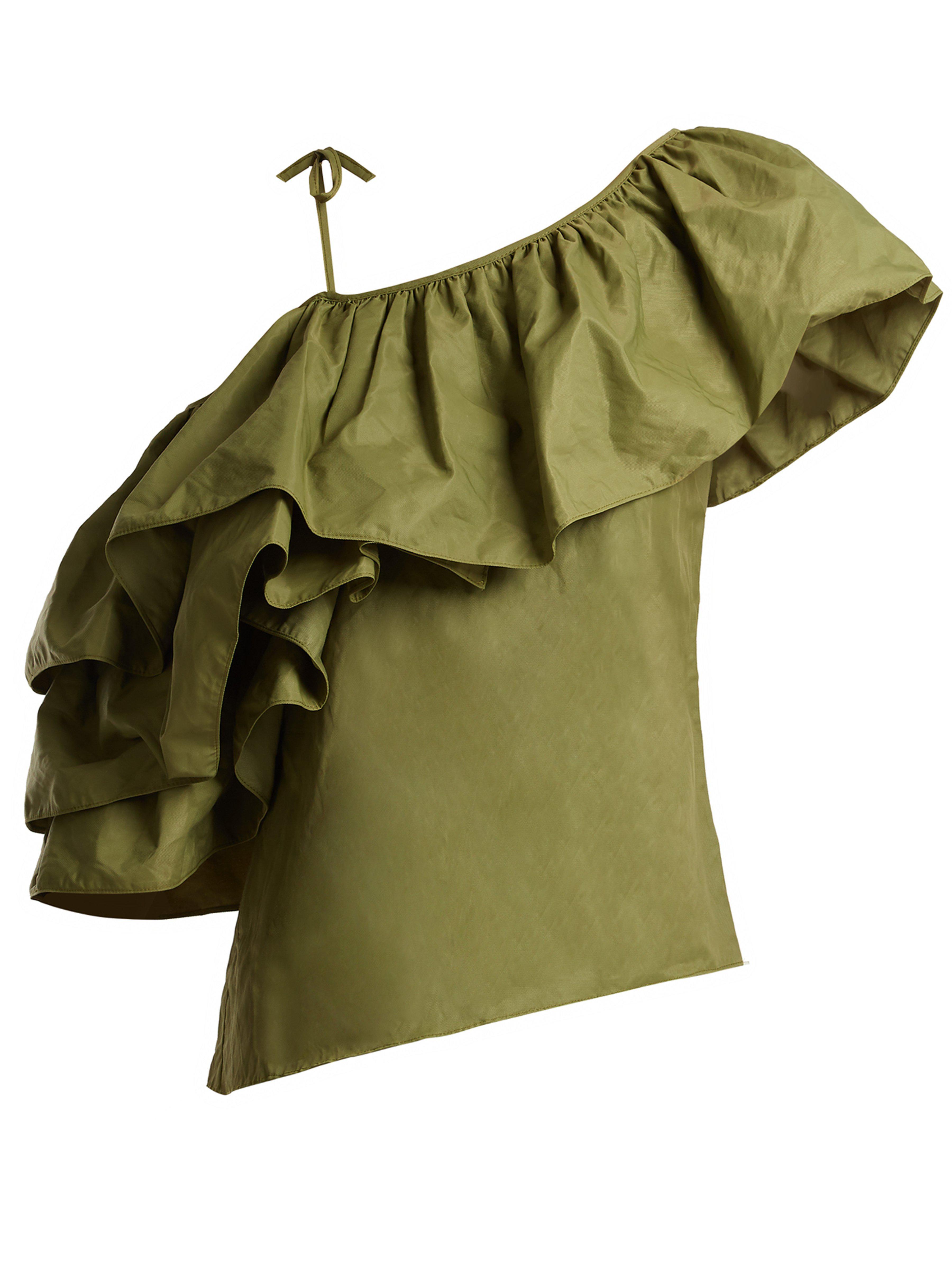 006923551feb81 Marques Almeida One Shoulder Taffeta Top in Green - Lyst