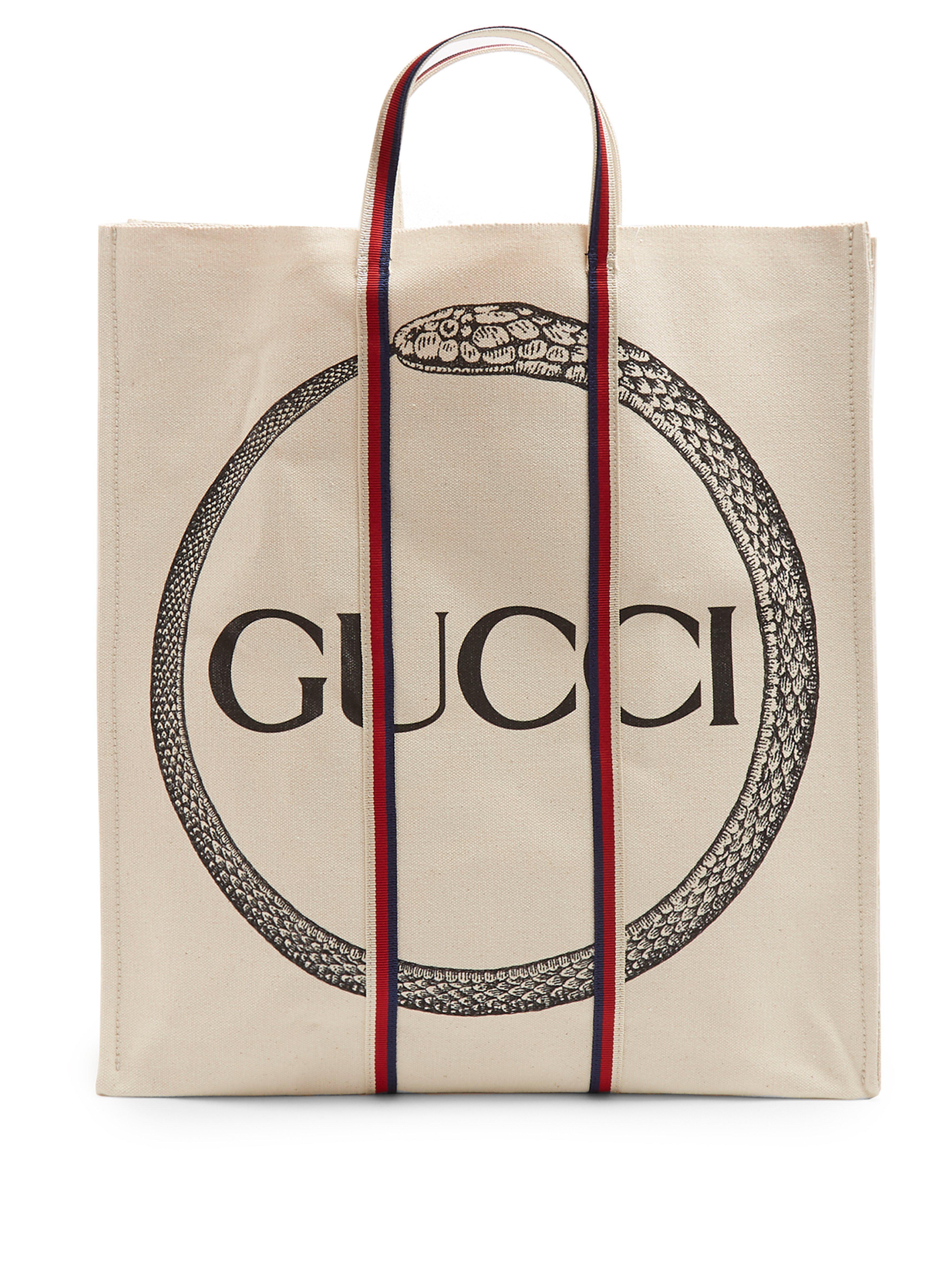 4439b6f2d38 Gucci - Natural Ouroboros Print Cotton Tote Bag for Men - Lyst. View  fullscreen