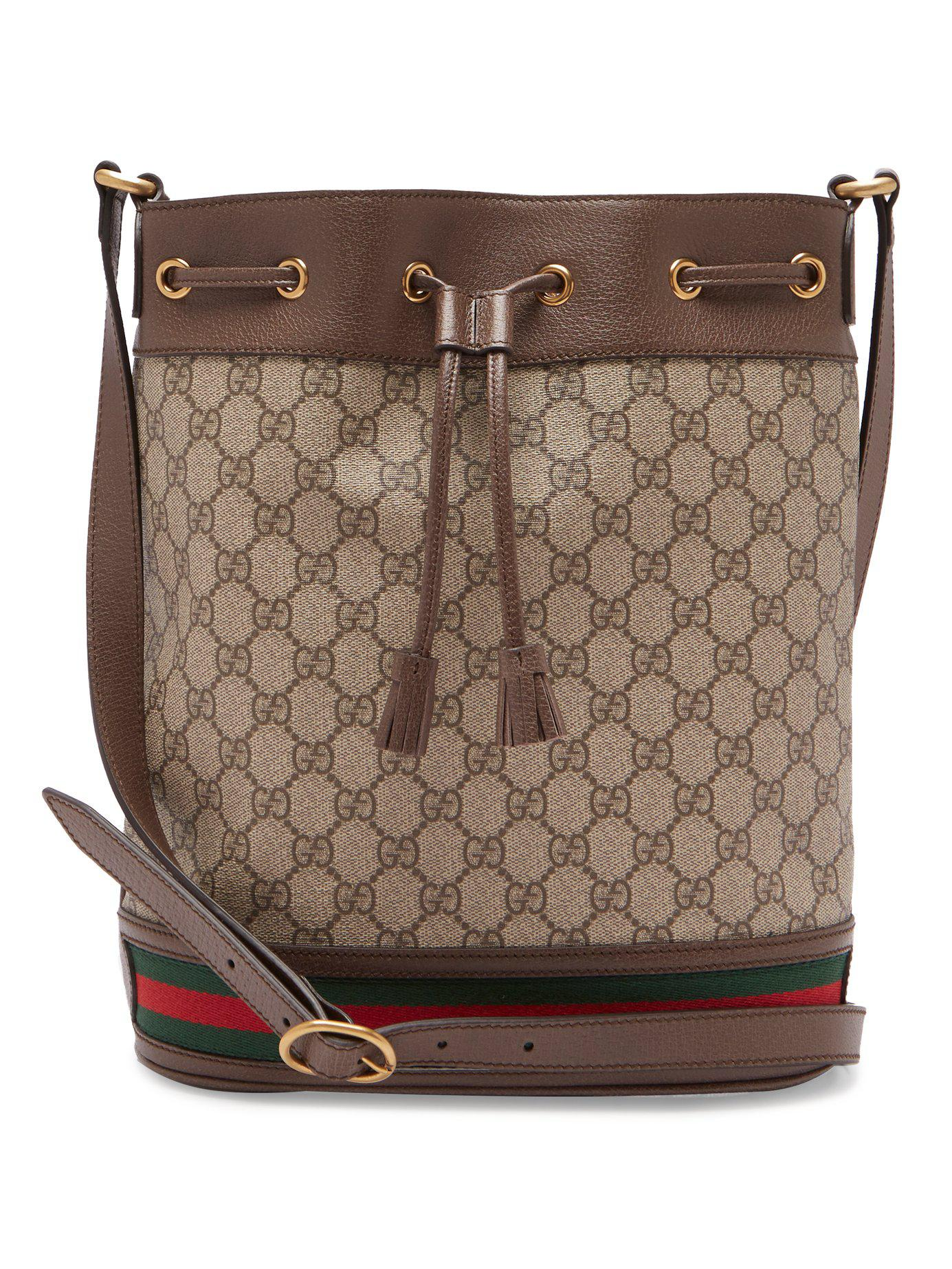 9fbbba3948a1 Gucci Ophidia Gg Supreme Leather Bucket Bag in Brown - Lyst