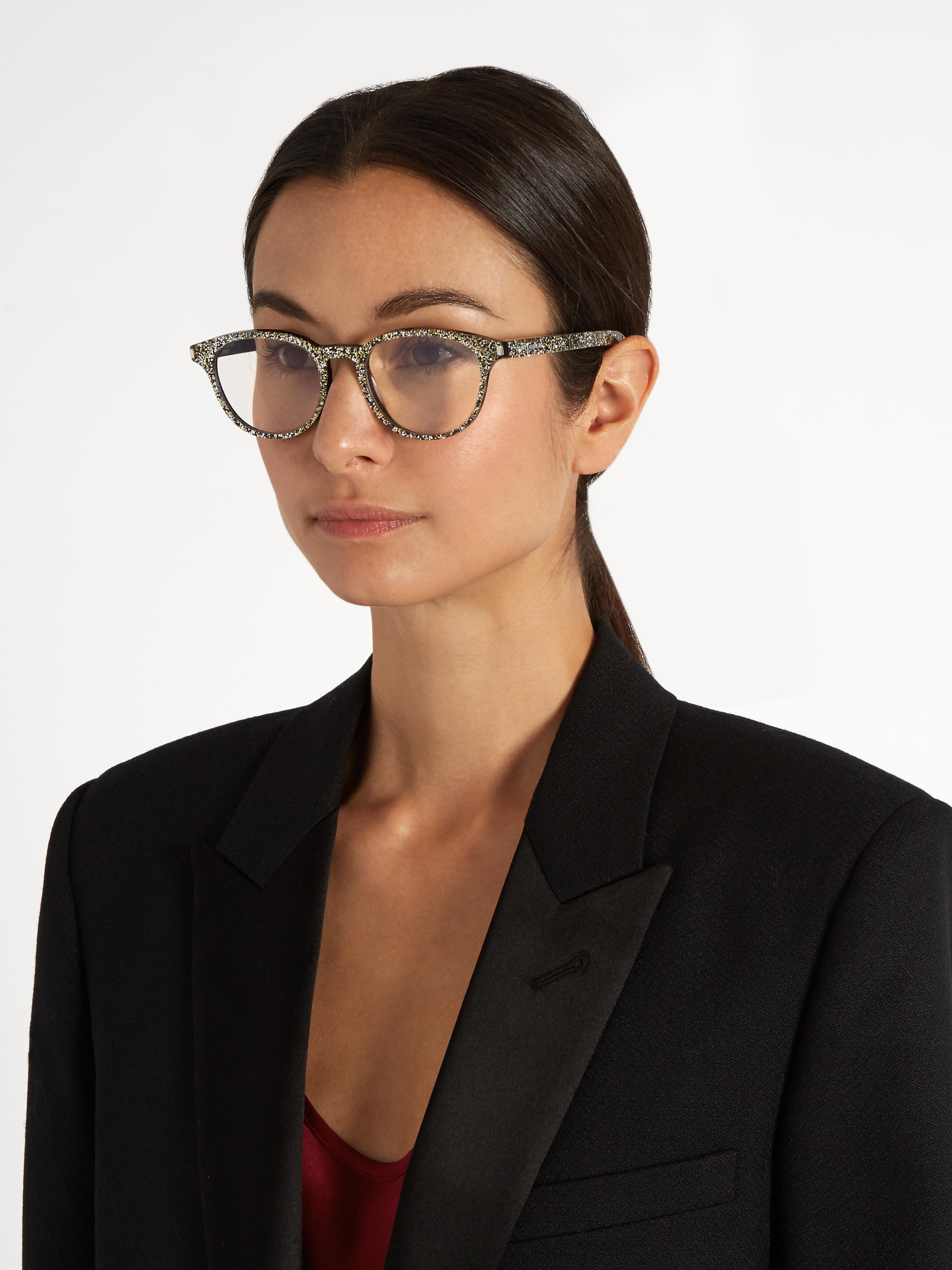 Saint Laurent Round Frame Glitter Glasses In Silver