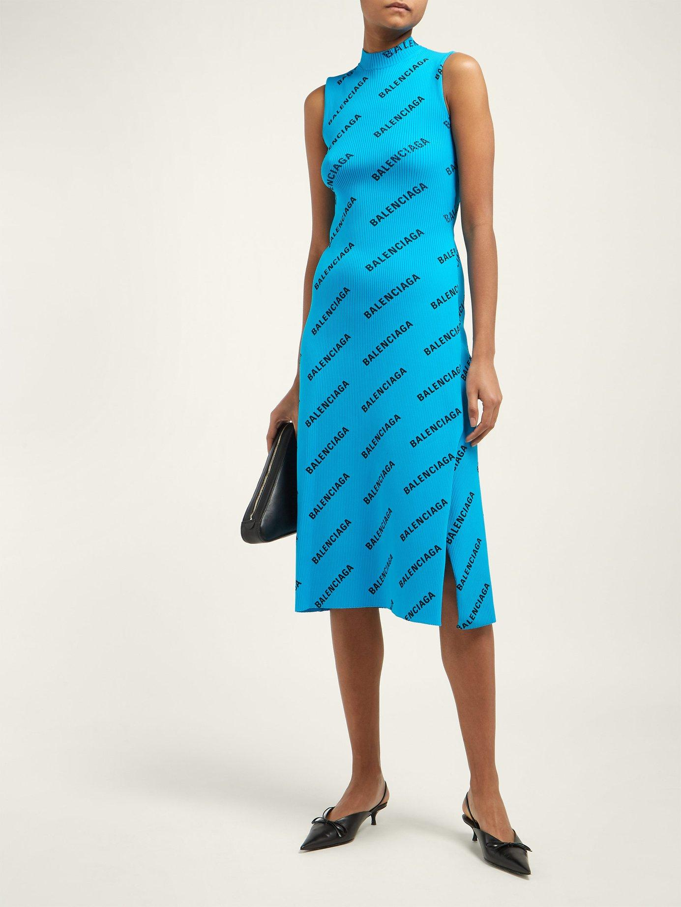 168ca4d5ebcc Balenciaga Logo Print Ribbed Wrap Midi Dress in Blue - Save 50% - Lyst