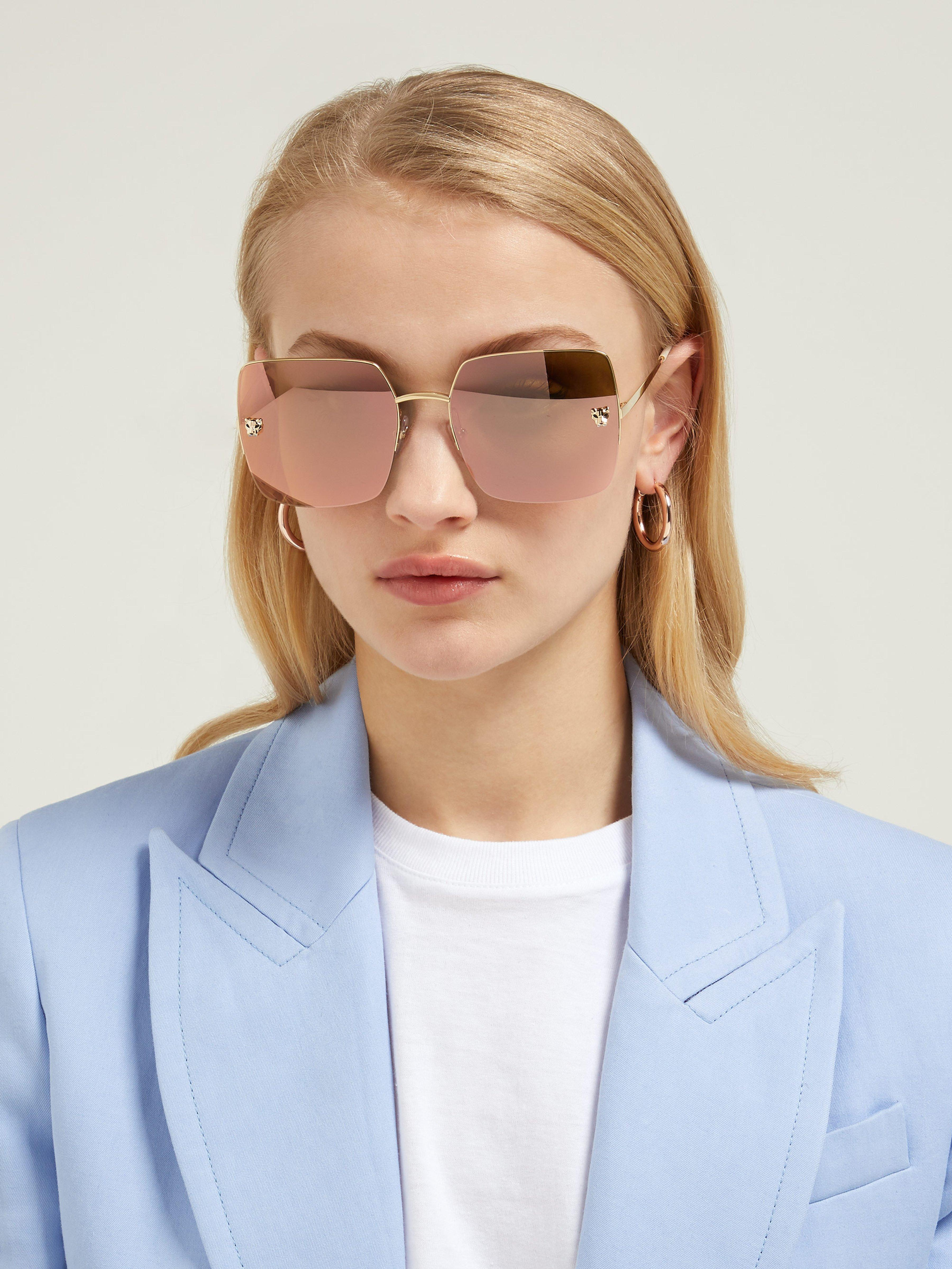 a39ac9b4f6081 Cartier Panthère Mirrored Square Lens Sunglasses in Metallic - Lyst
