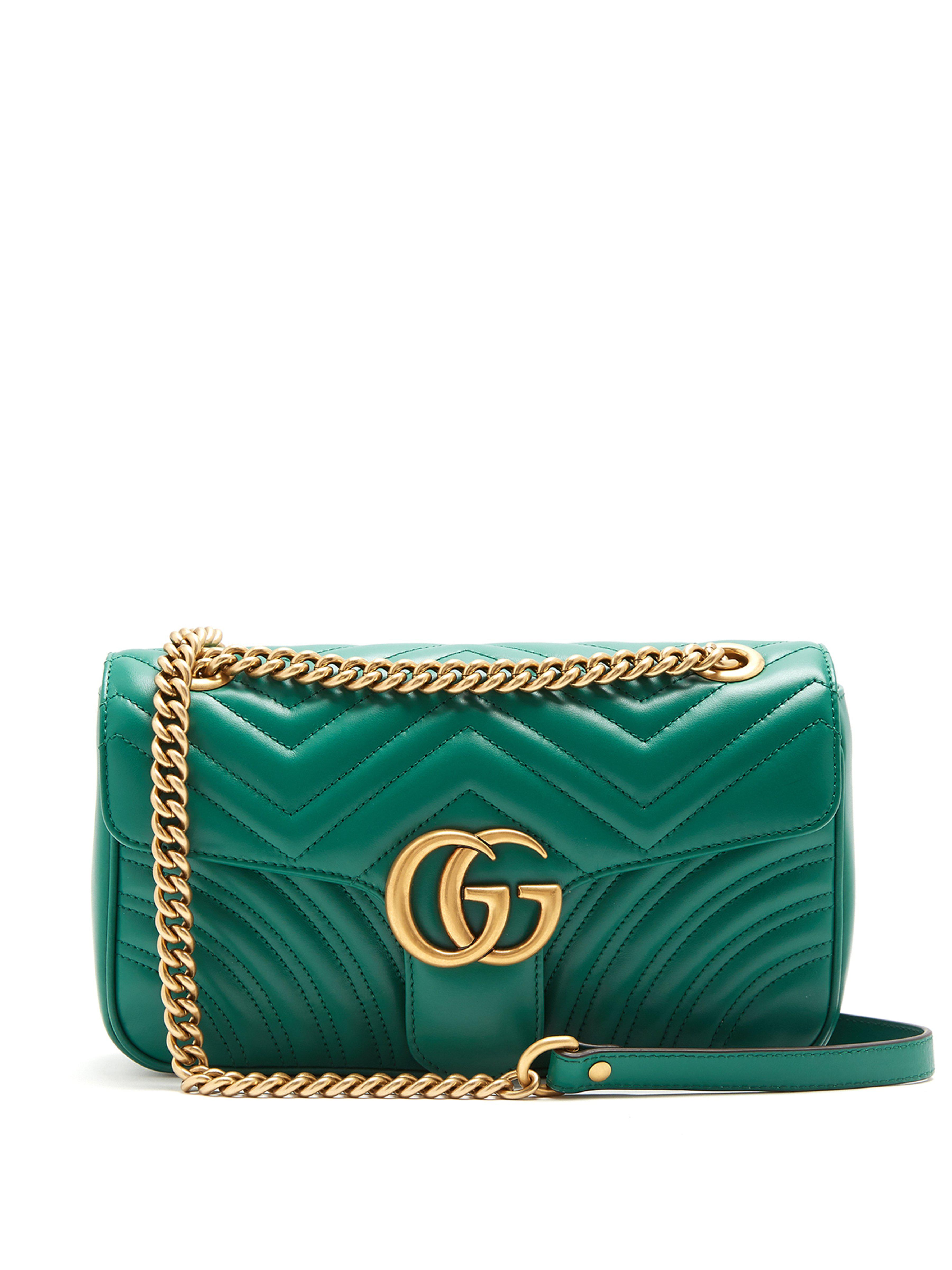 eadcd68ee7ce Gucci Small Marmont Matelasse Leather Shoulder Bag in Green - Save ...