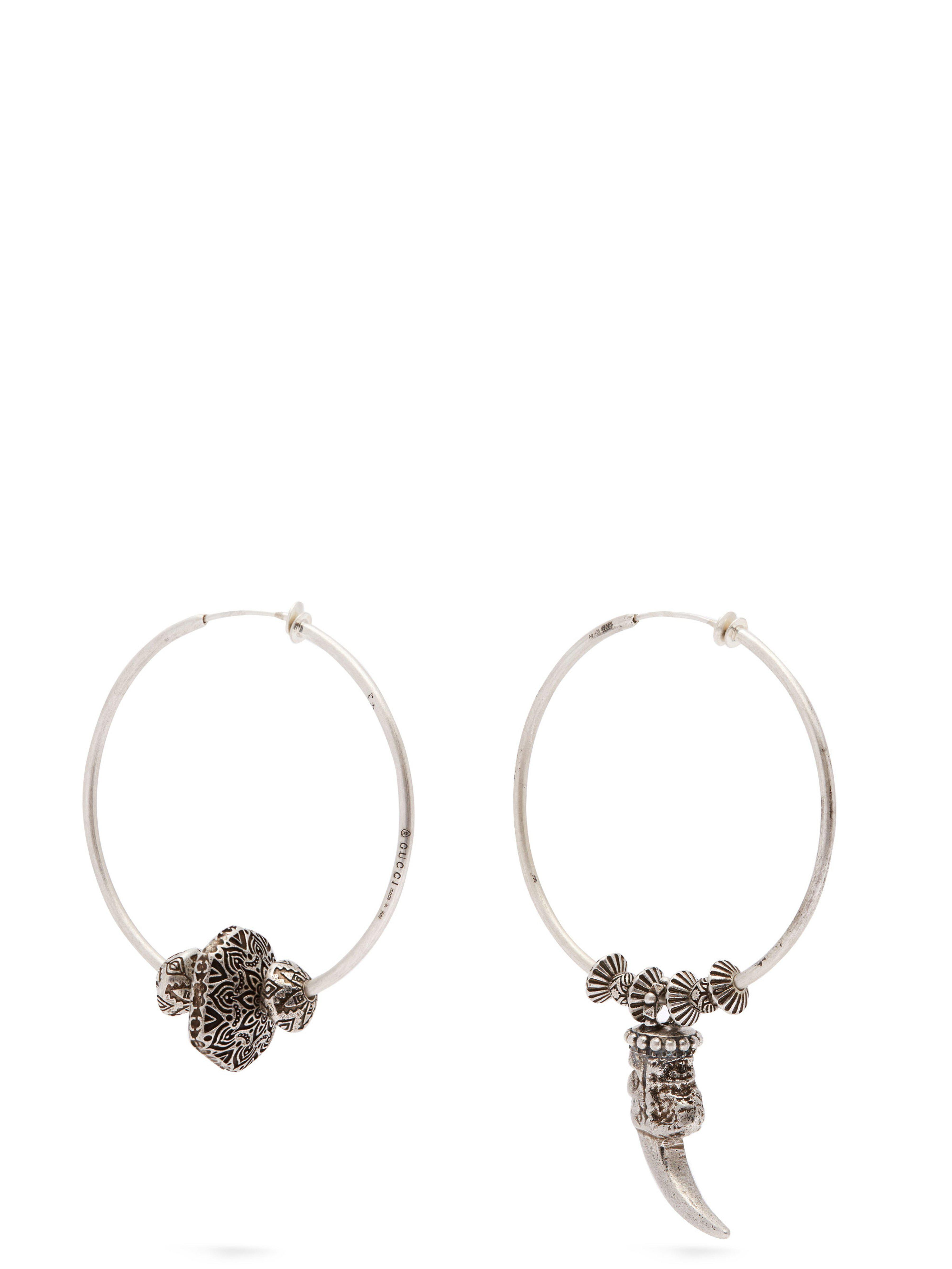 e6c4fd1664d Gucci Anger Forest Mismatched Hoop Clip Earrings in Metallic - Lyst