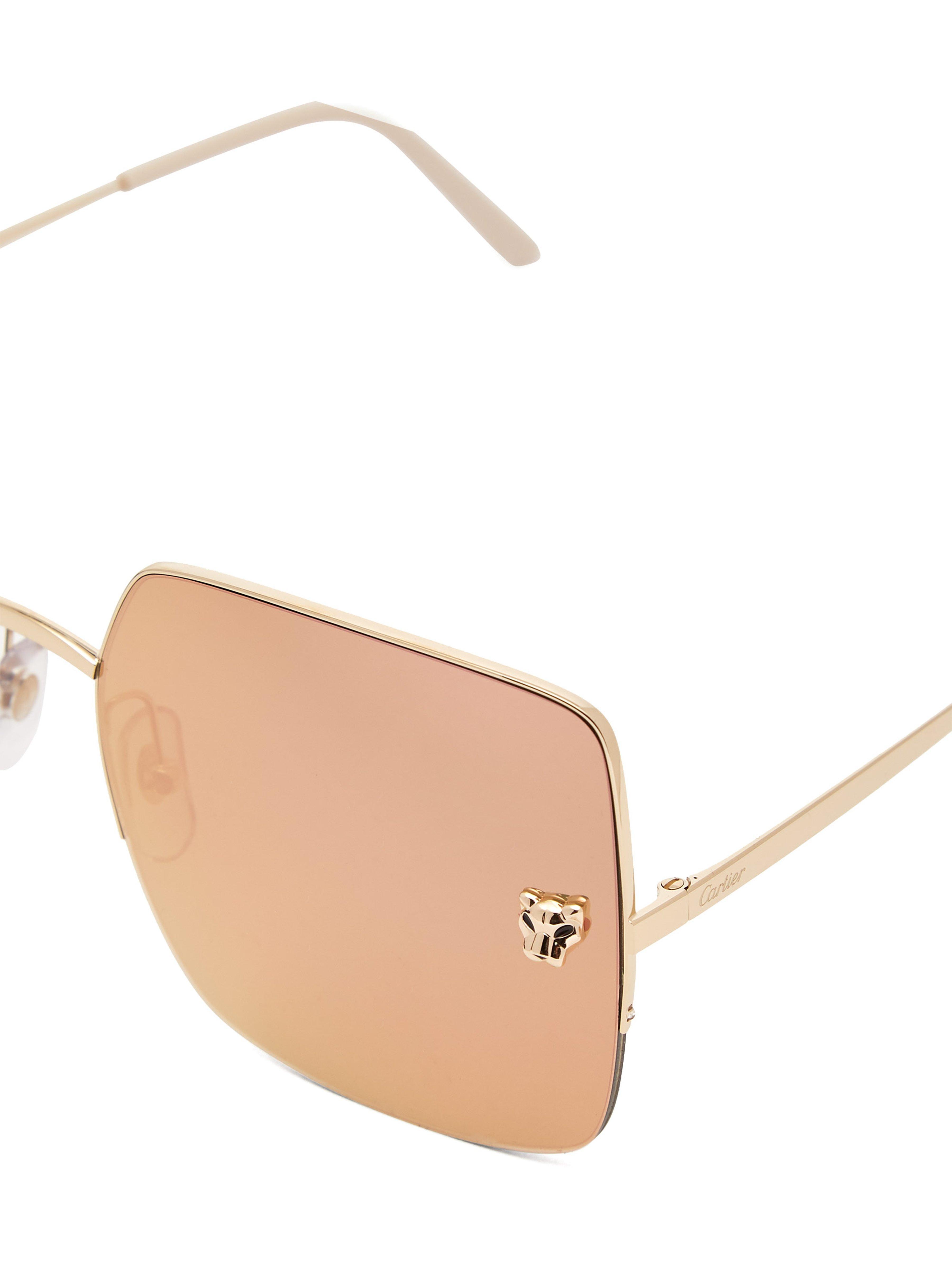0fde904612f54 Cartier - Metallic Panthère Mirrored Square Lens Sunglasses - Lyst. View  fullscreen