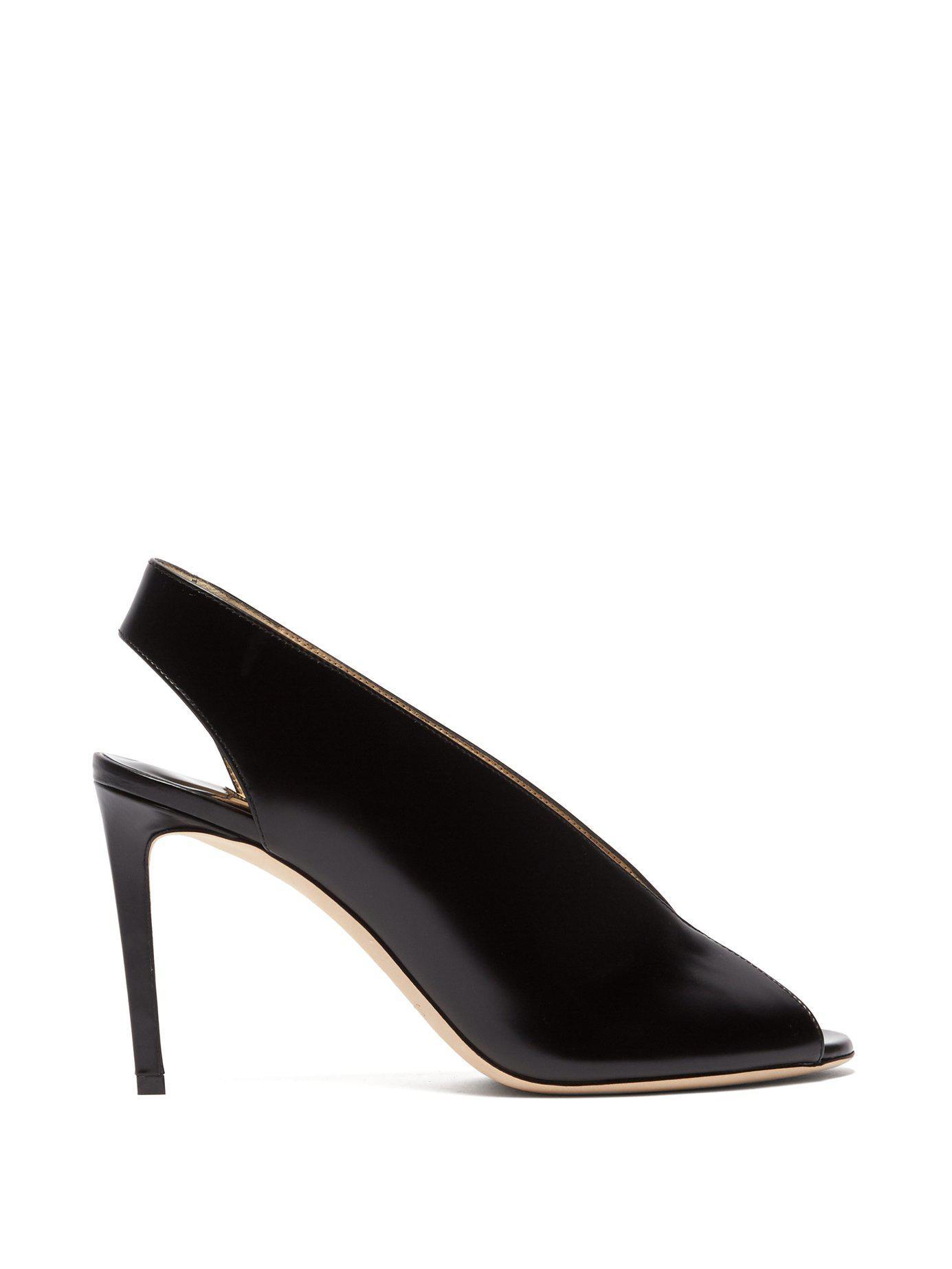 3b4745b8d1af Lyst - Jimmy Choo Shar 85 Slingback Leather Sandals in Black